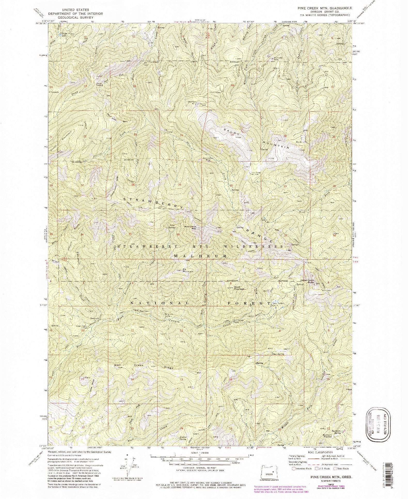 USGS 1:24000-SCALE QUADRANGLE FOR PINE CREEK MTN, OR 1972