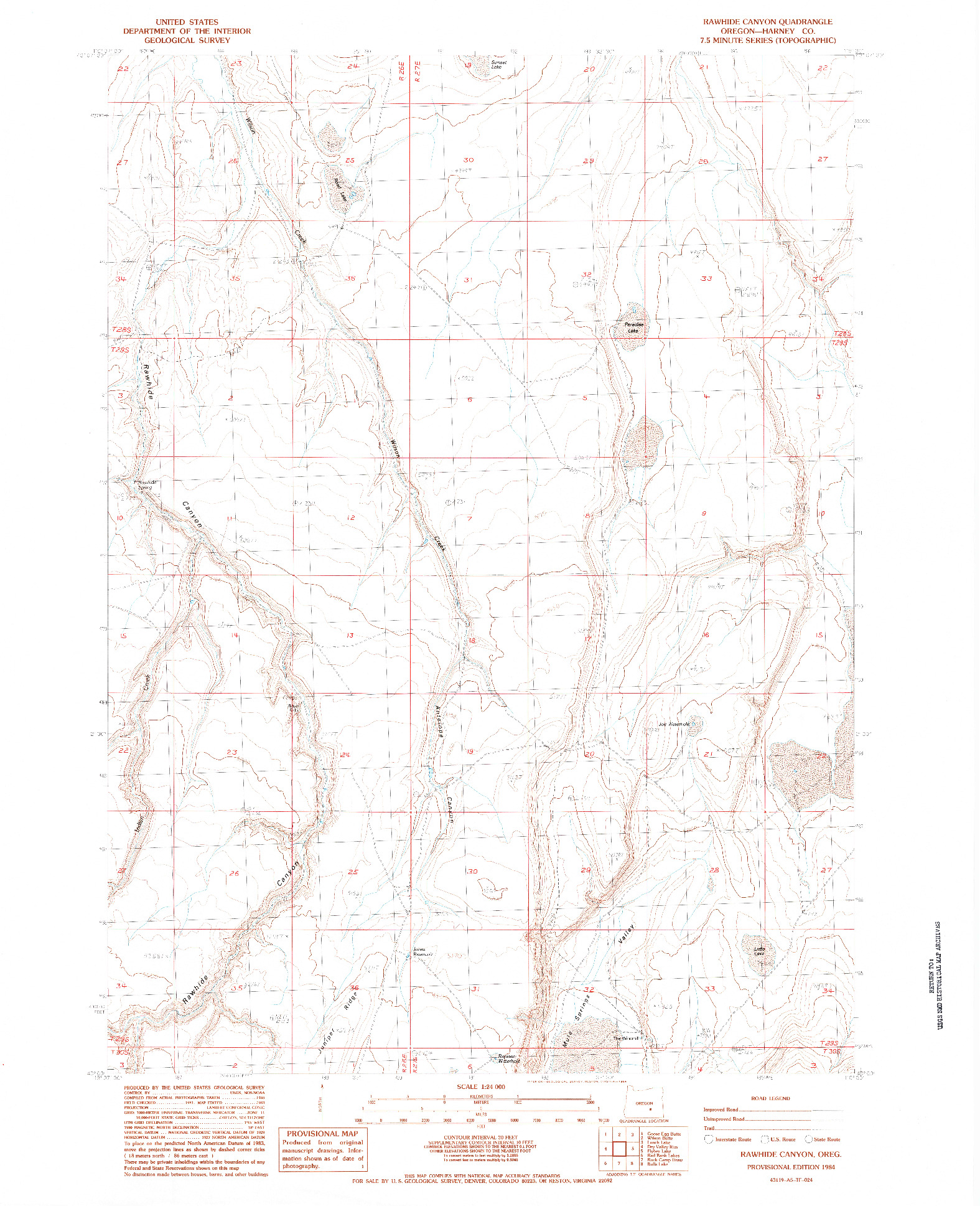 USGS 1:24000-SCALE QUADRANGLE FOR RAWHIDE CANYON, OR 1984