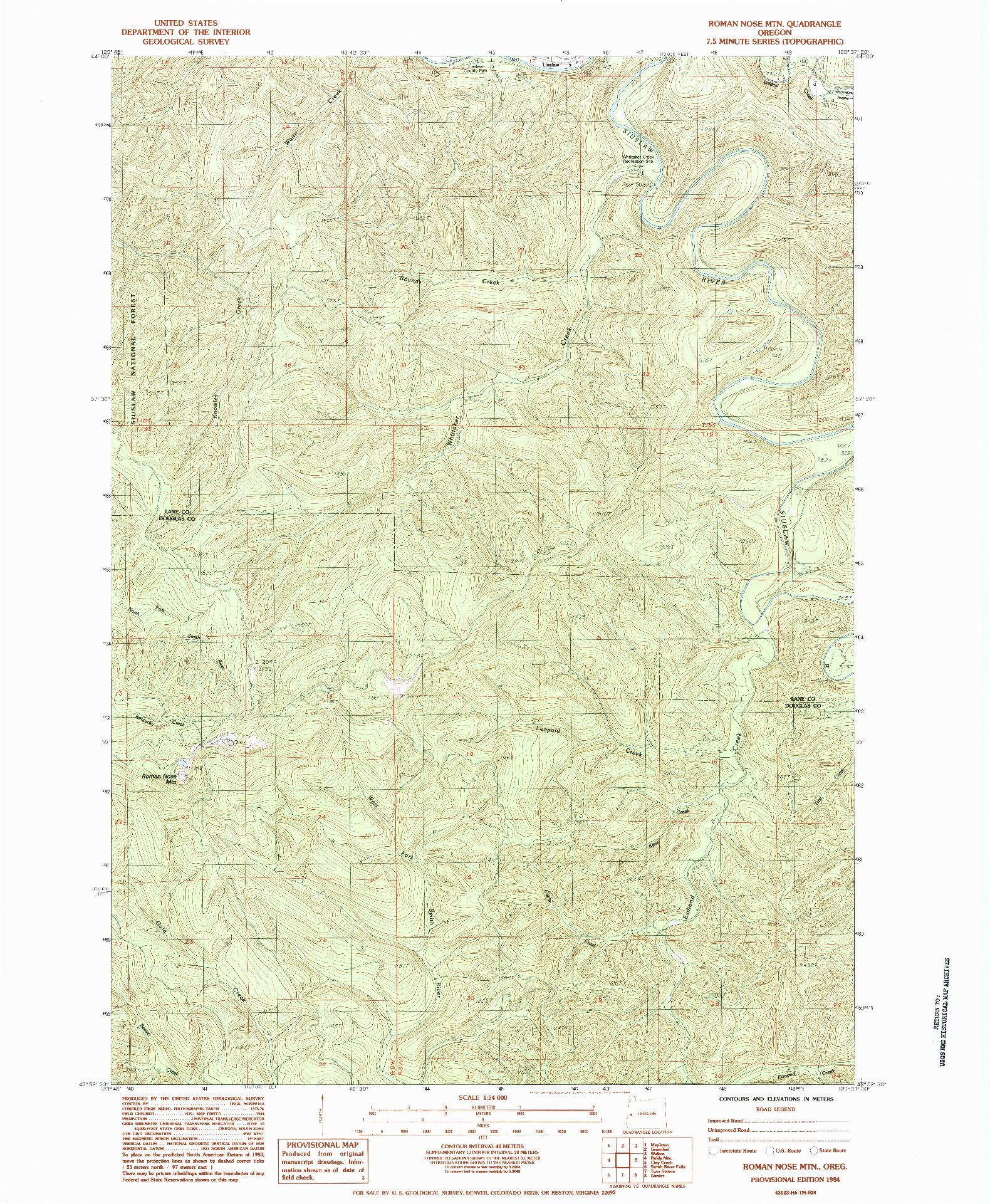 USGS 1:24000-SCALE QUADRANGLE FOR ROMAN NOSE MTN, OR 1984