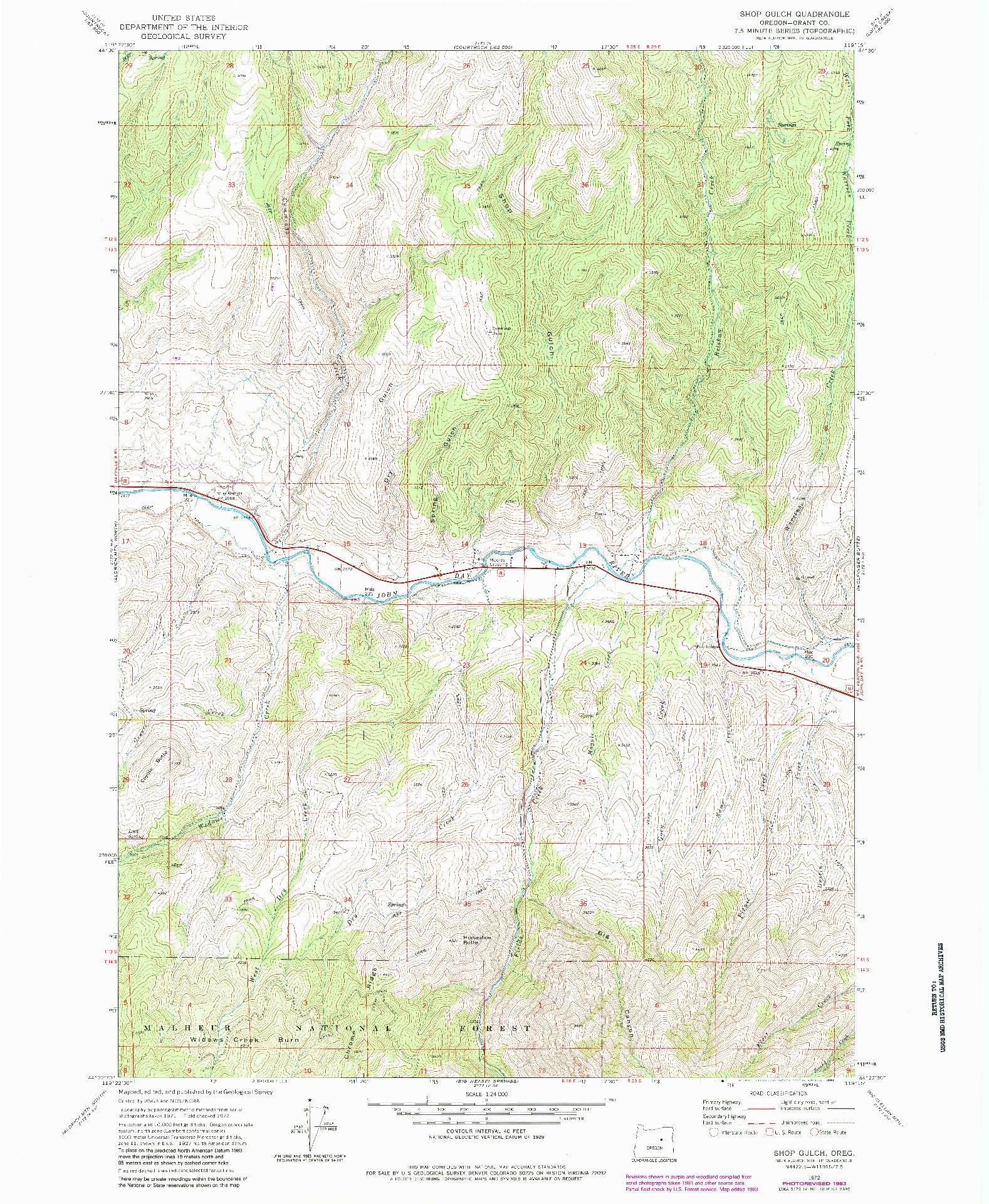 USGS 1:24000-SCALE QUADRANGLE FOR SHOP GULCH, OR 1972