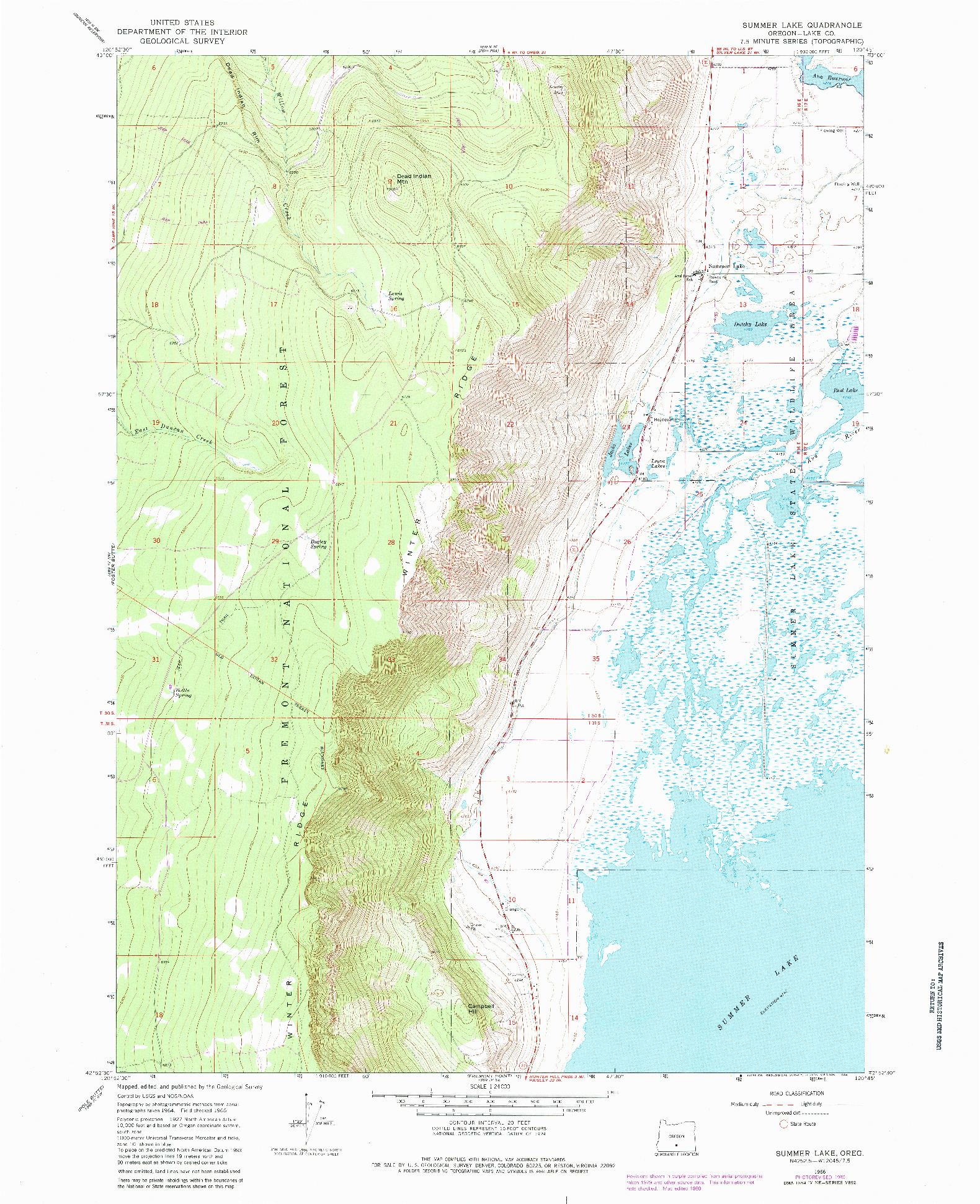 USGS 1:24000-SCALE QUADRANGLE FOR SUMMER LAKE, OR 1966