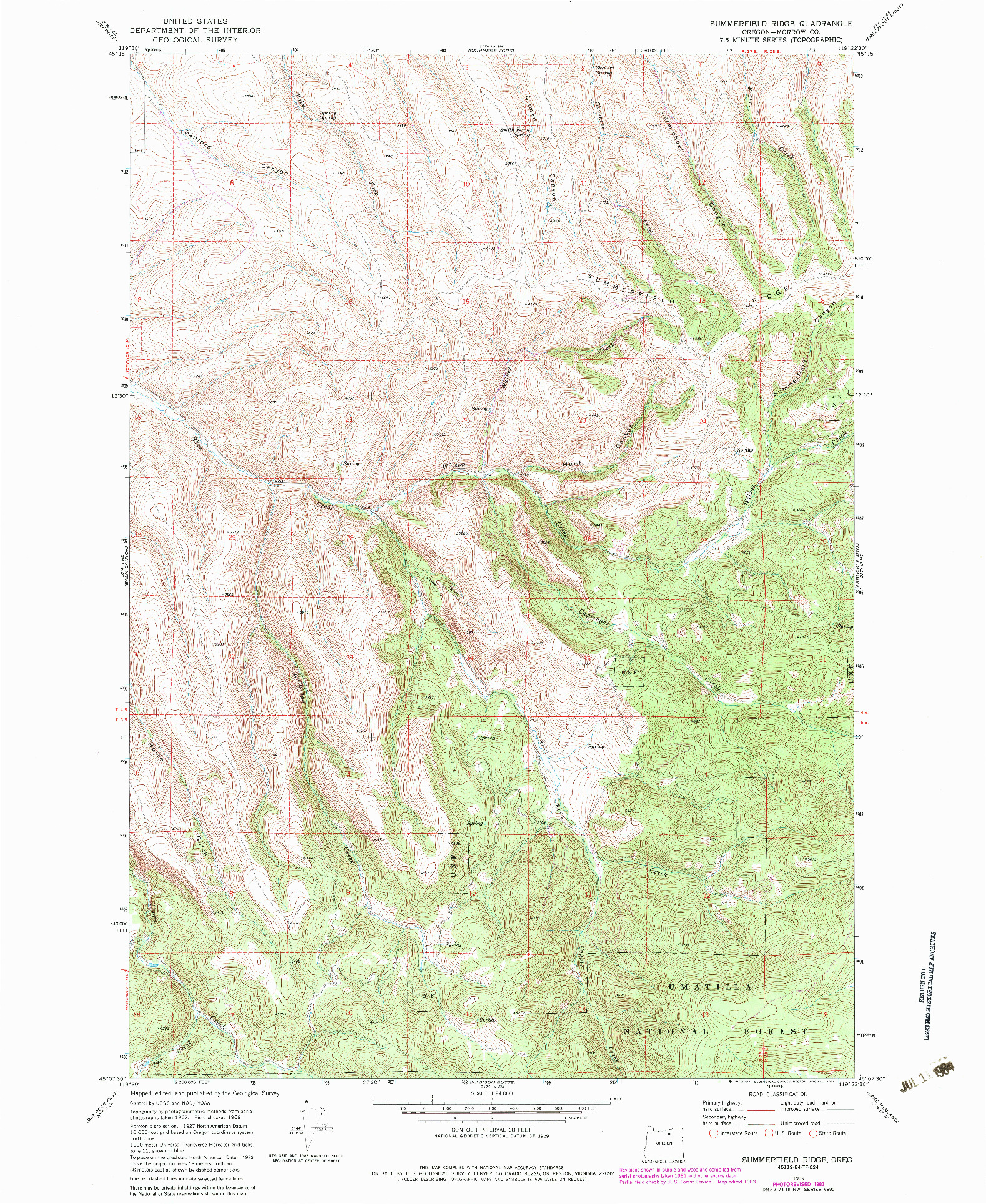 USGS 1:24000-SCALE QUADRANGLE FOR SUMMERFIELD RIDGE, OR 1969