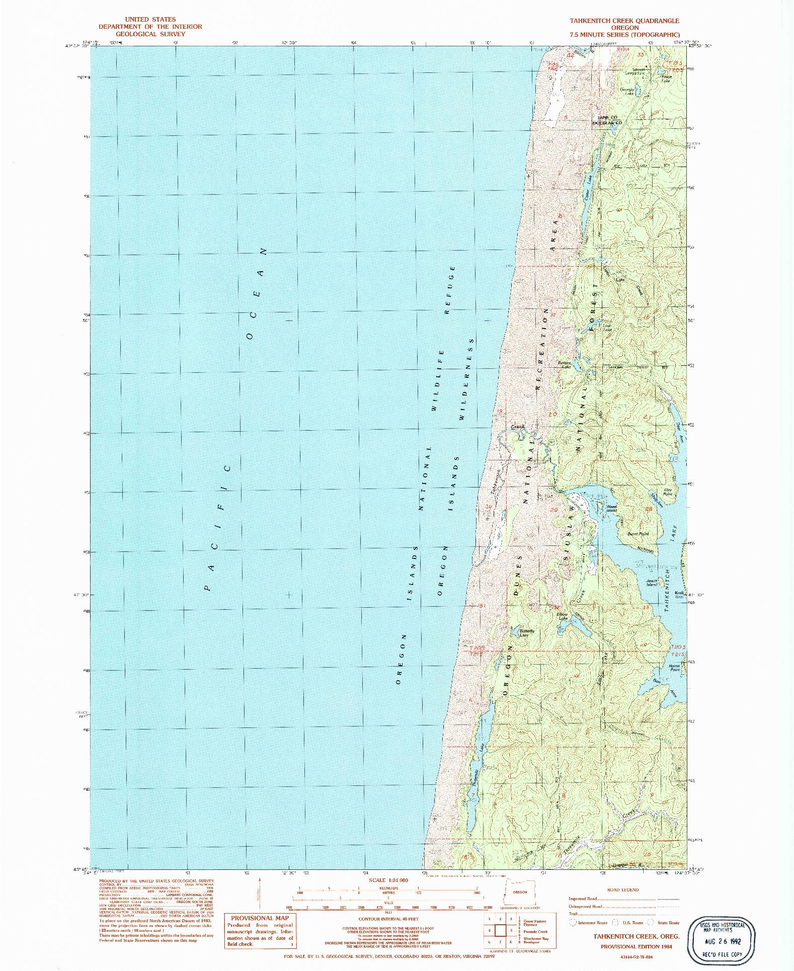 USGS 1:24000-SCALE QUADRANGLE FOR TAHKENITCH CREEK, OR 1984