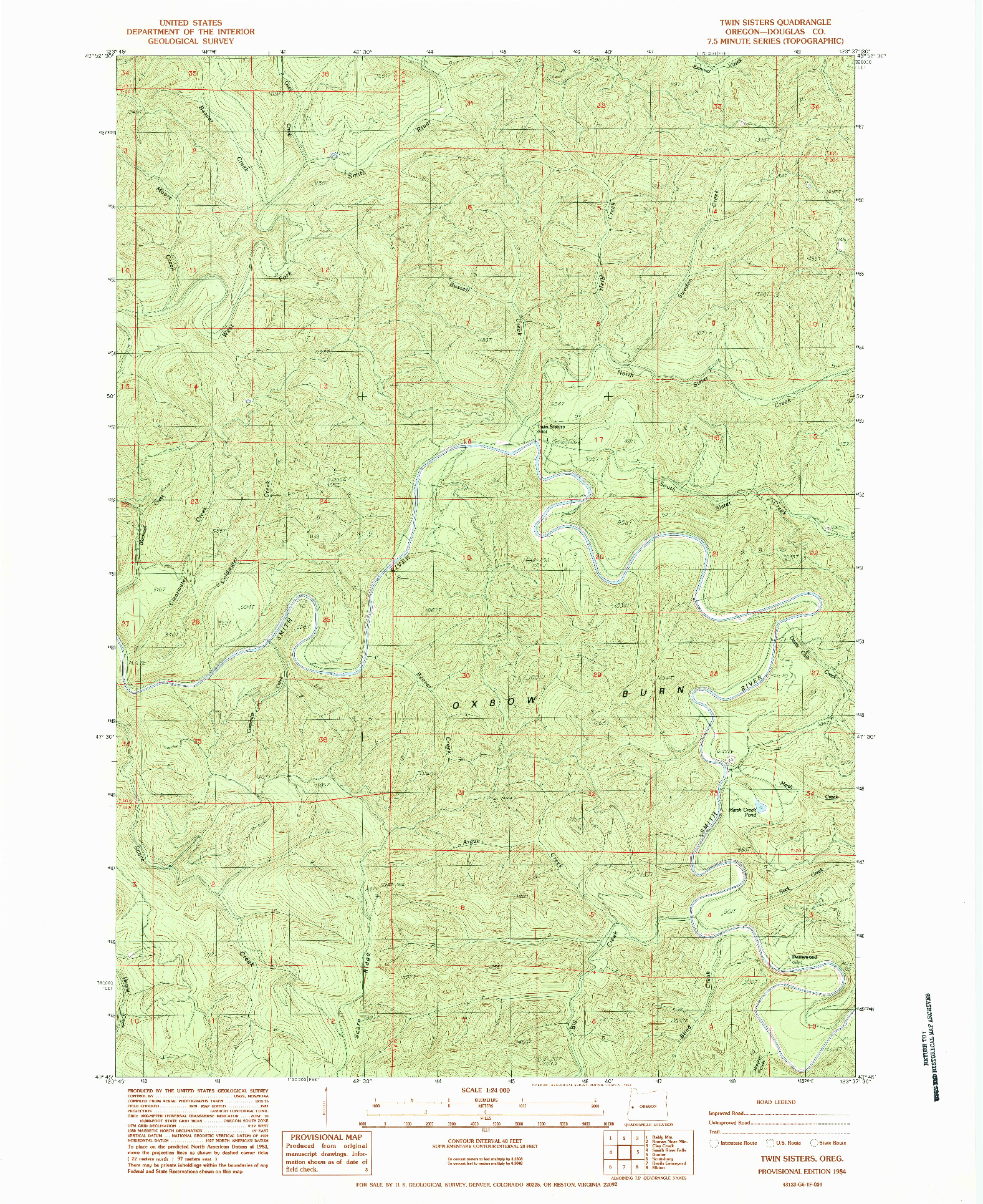 USGS 1:24000-SCALE QUADRANGLE FOR TWIN SISTERS, OR 1984