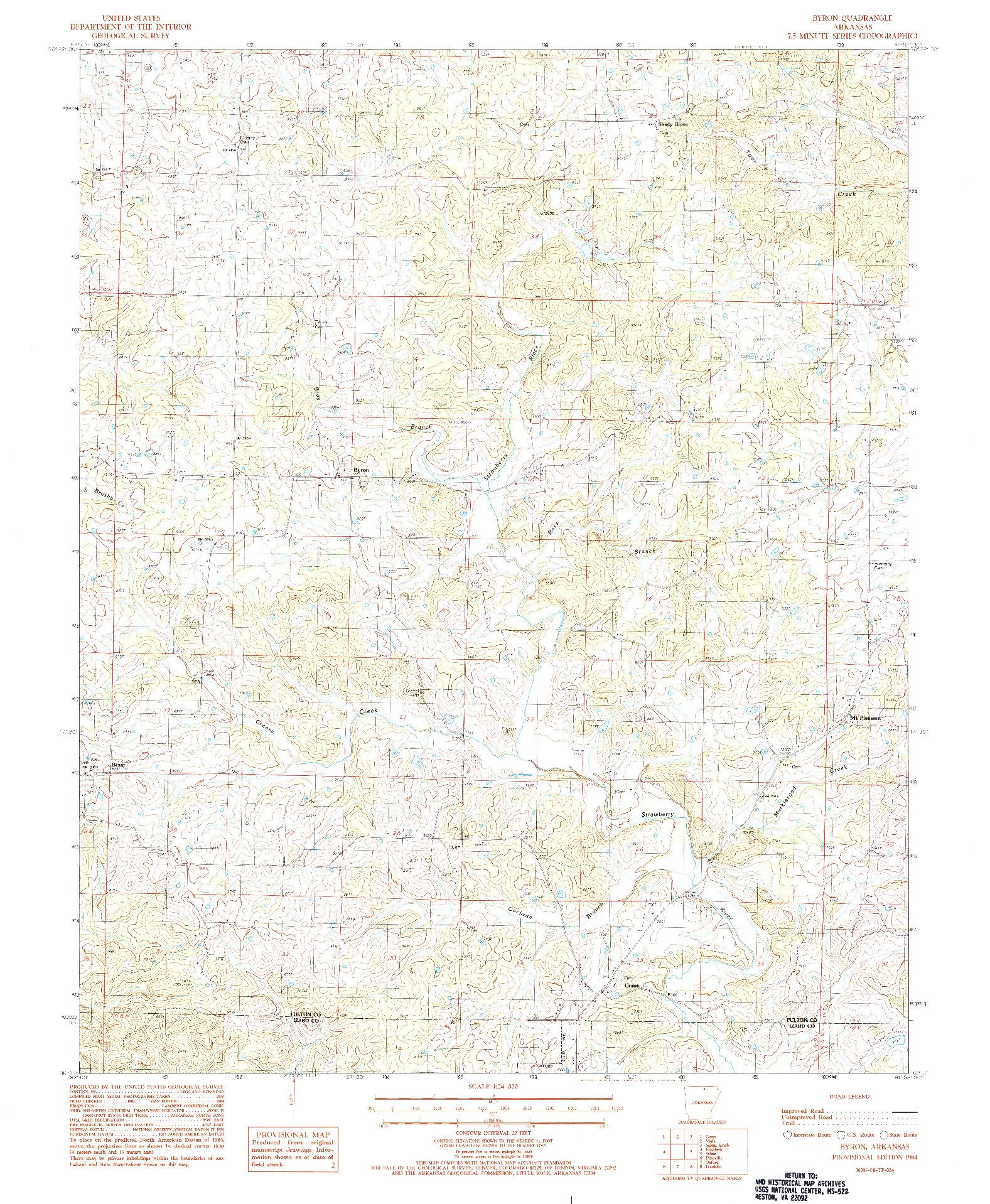 USGS 1:24000-SCALE QUADRANGLE FOR BYRON, AR 1984