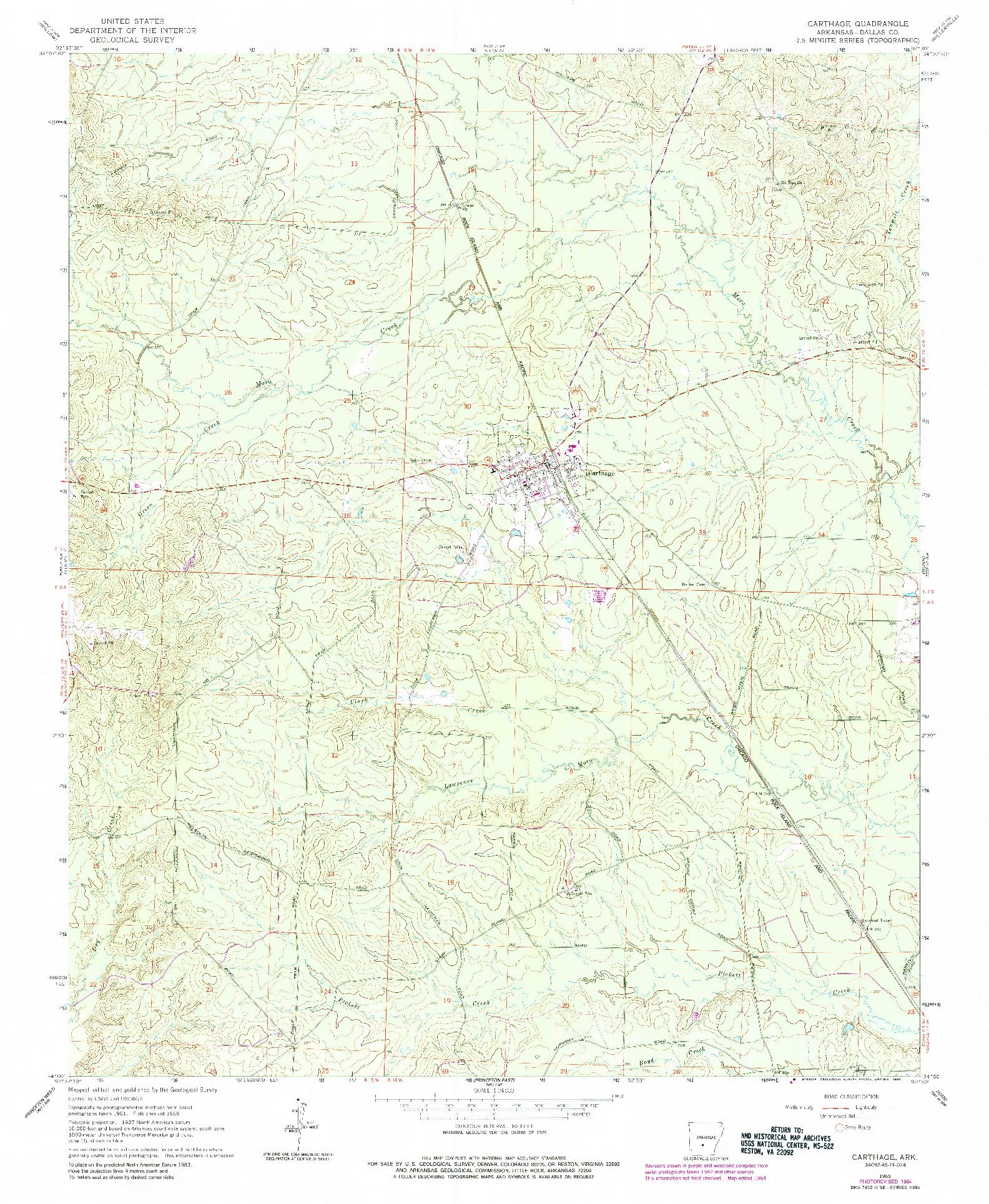 USGS 1:24000-SCALE QUADRANGLE FOR CARTHAGE, AR 1965