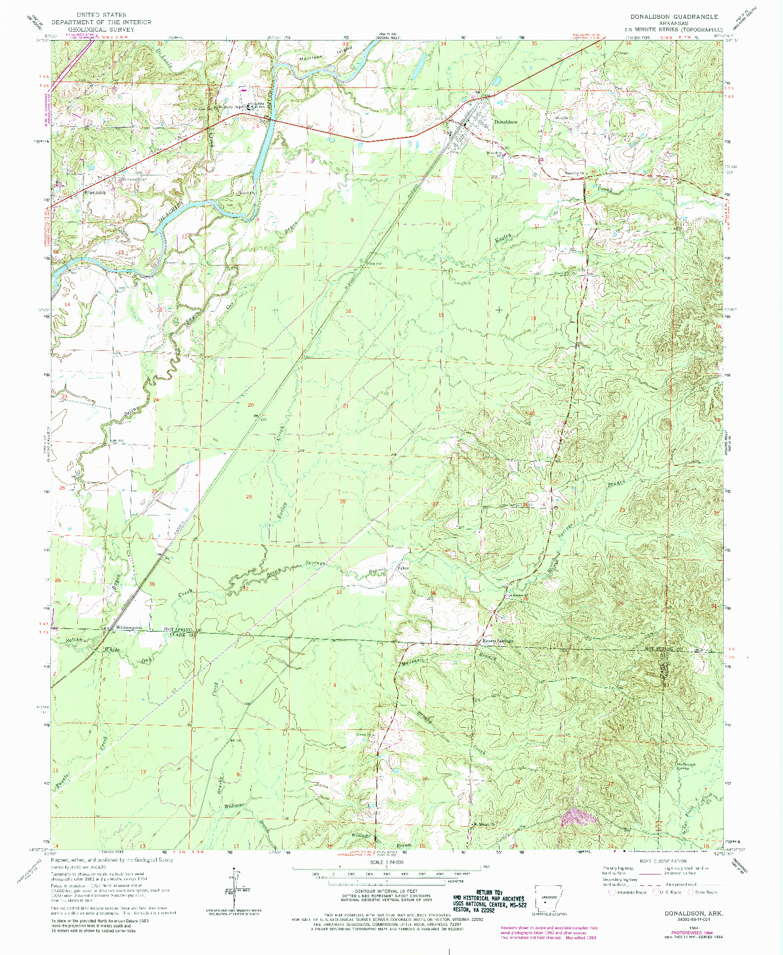 USGS 1:24000-SCALE QUADRANGLE FOR DONALDSON, AR 1964
