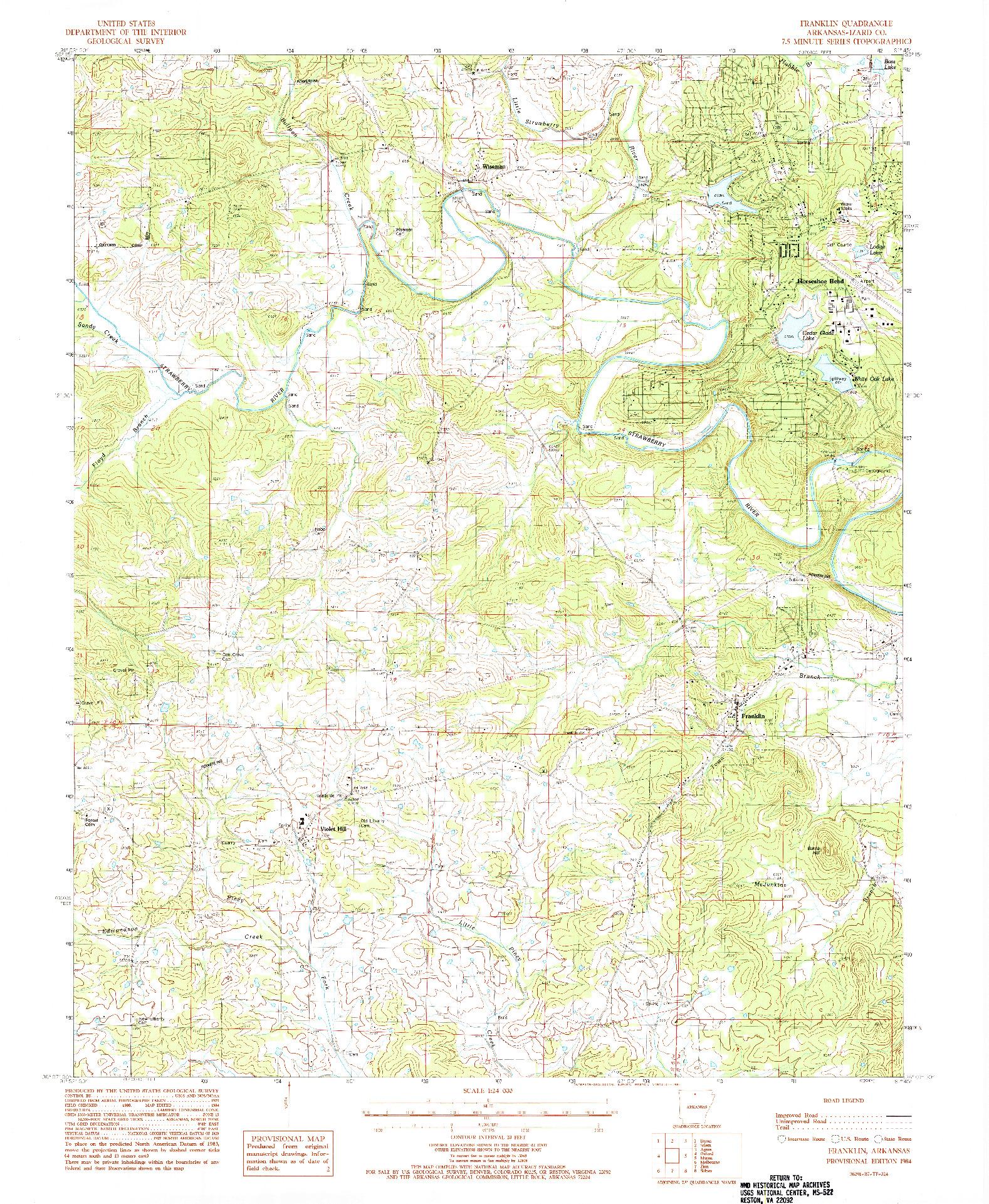 USGS 1:24000-SCALE QUADRANGLE FOR FRANKLIN, AR 1984