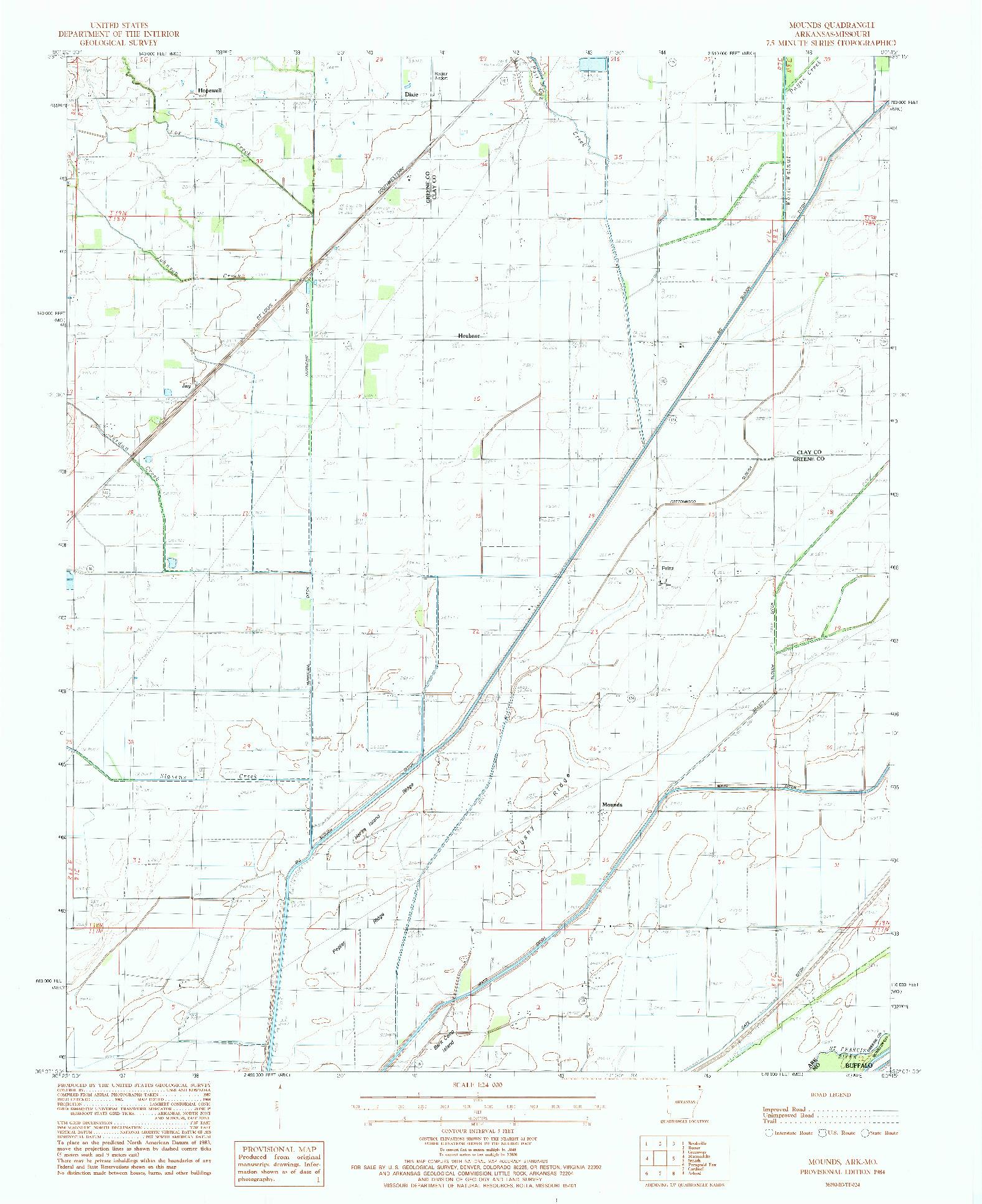USGS 1:24000-SCALE QUADRANGLE FOR MOUNDS, AR 1984