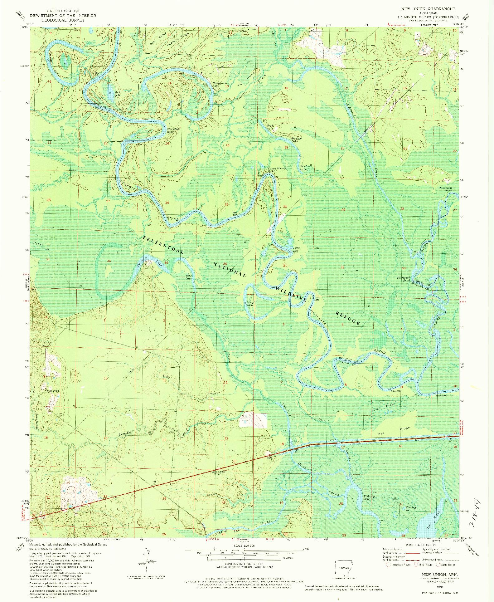 USGS 1:24000-SCALE QUADRANGLE FOR NEW UNION, AR 1981