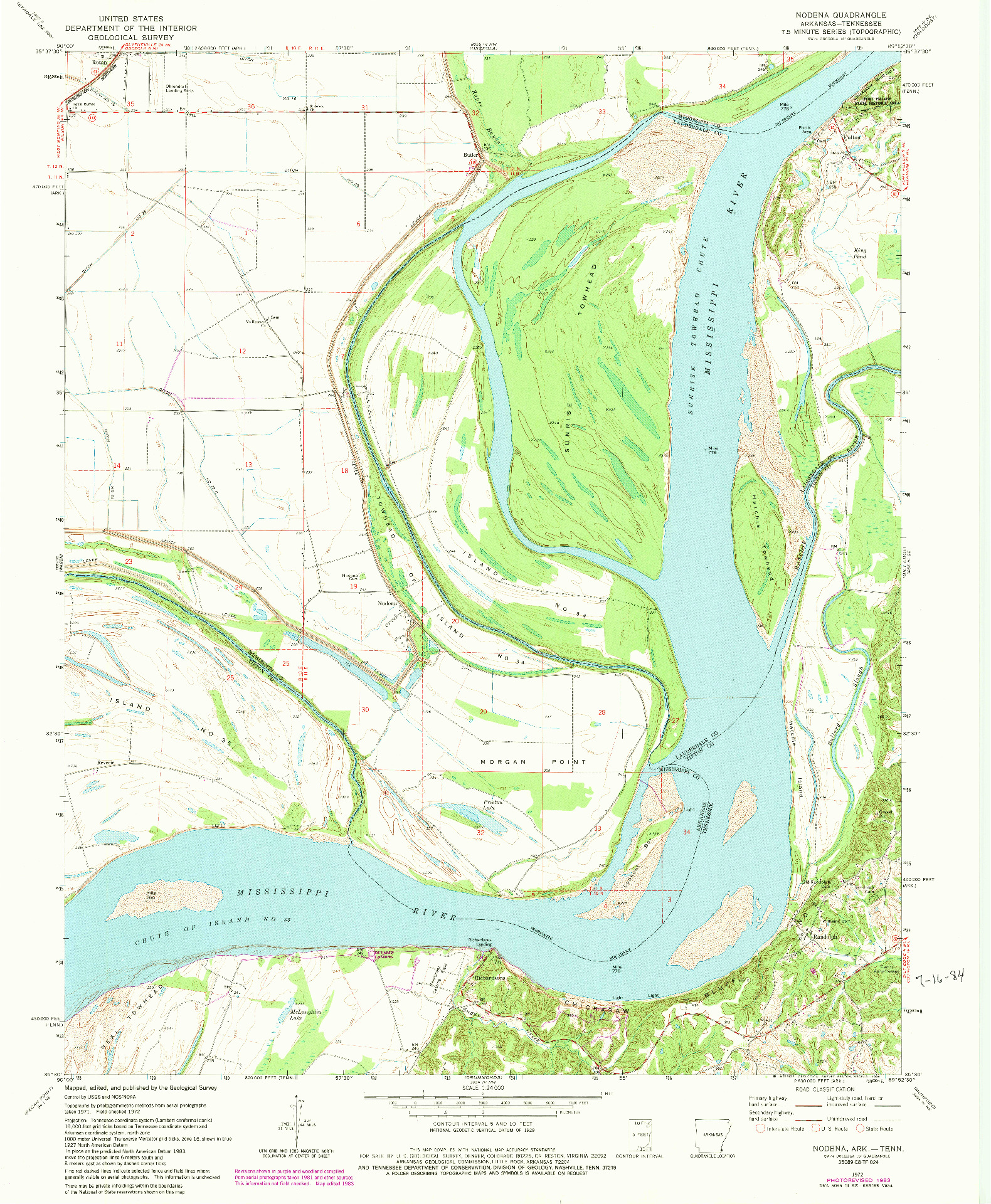 USGS 1:24000-SCALE QUADRANGLE FOR NODENA, AR 1972