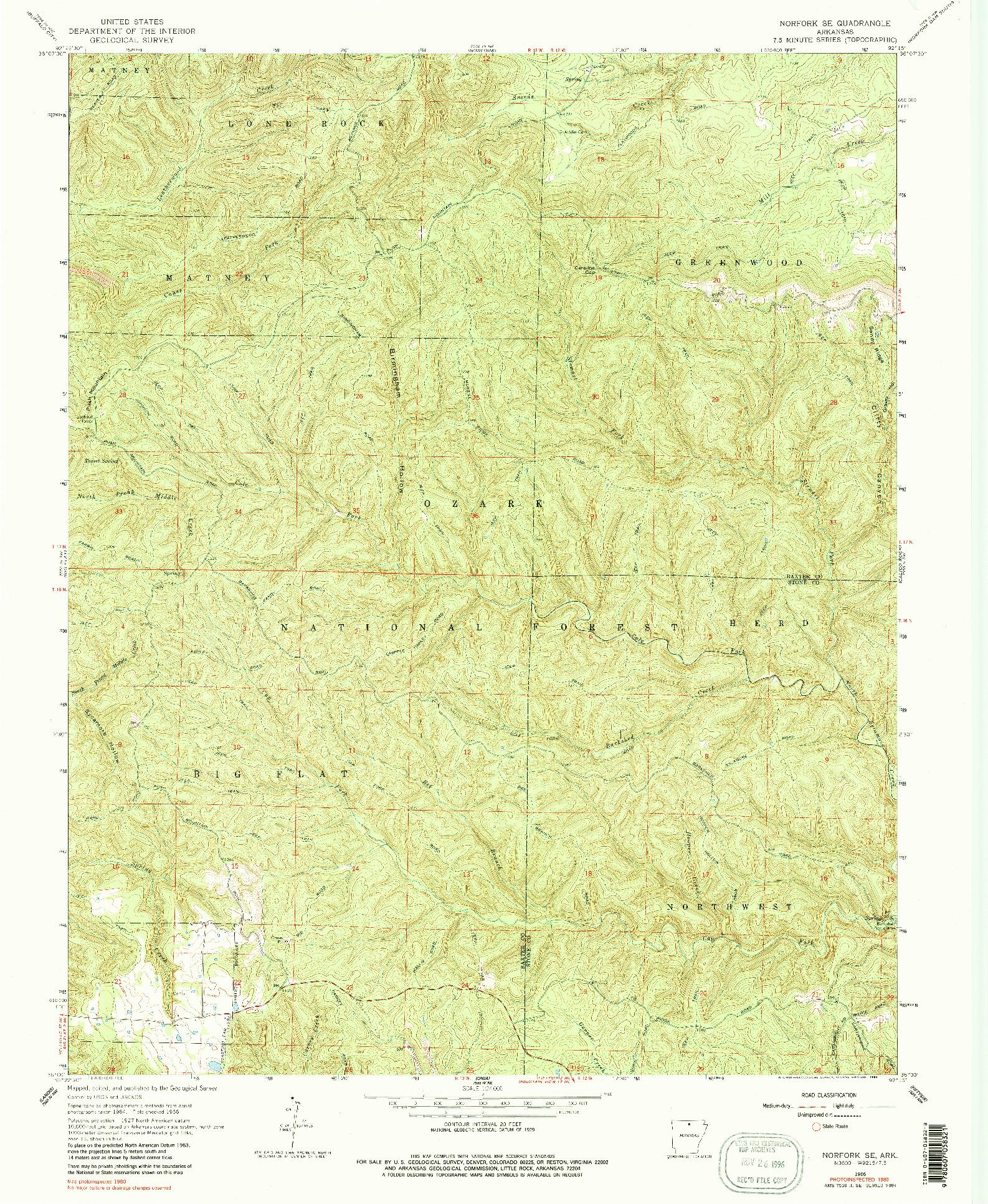 USGS 1:24000-SCALE QUADRANGLE FOR NORFORK SE, AR 1966