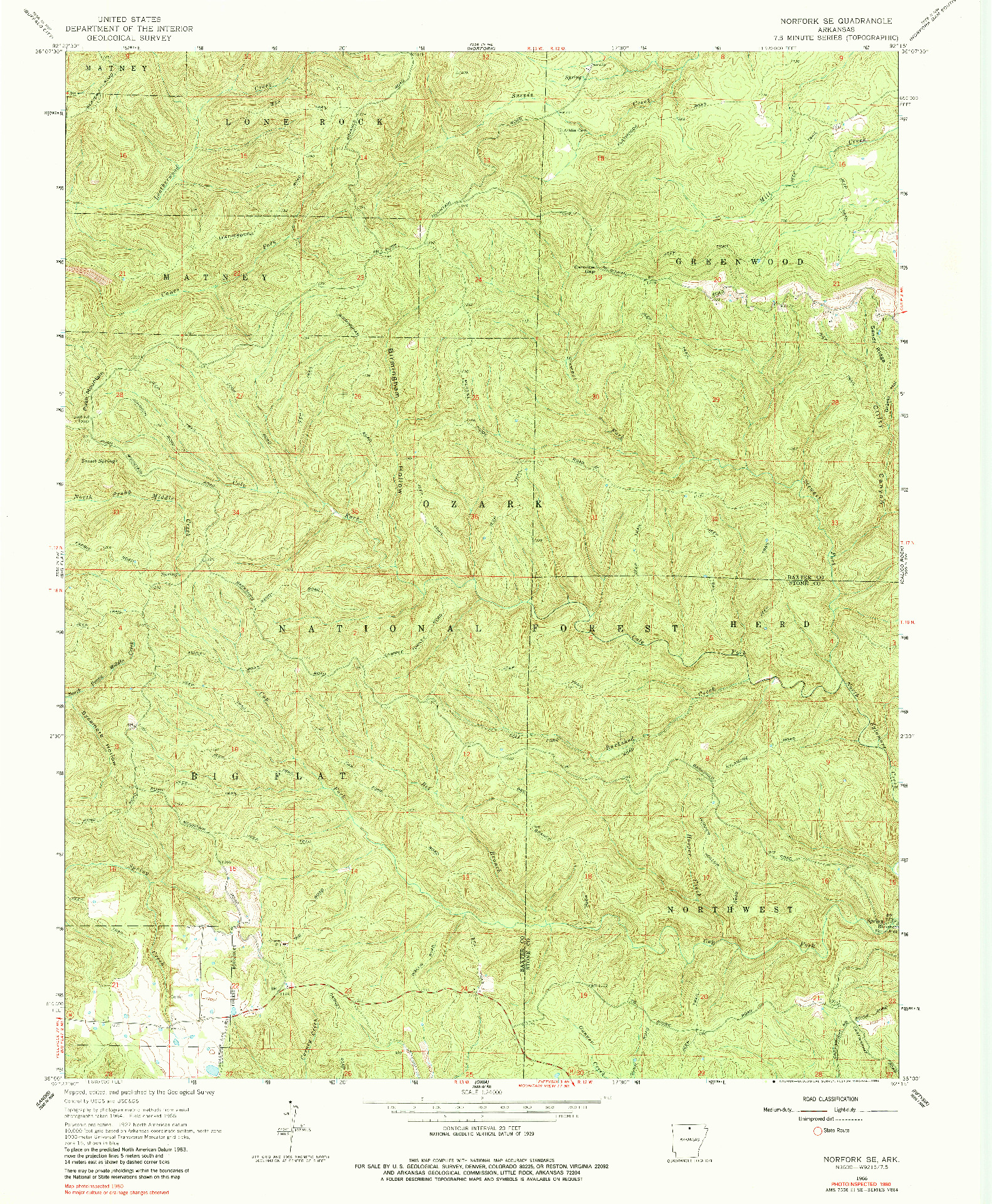 USGS 1:24000-SCALE QUADRANGLE FOR NORFORK SE, AR 1966