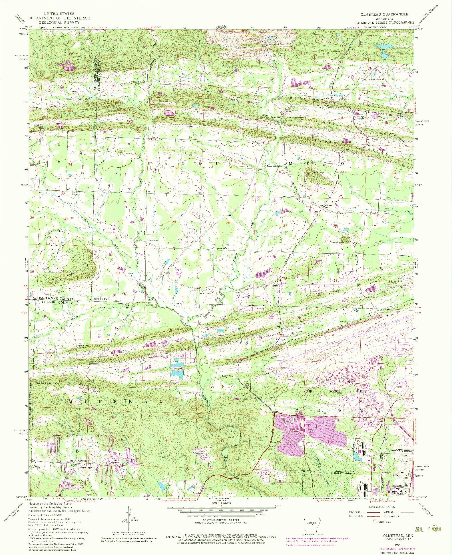 USGS 1:24000-SCALE QUADRANGLE FOR OLMSTEAD, AR 1954
