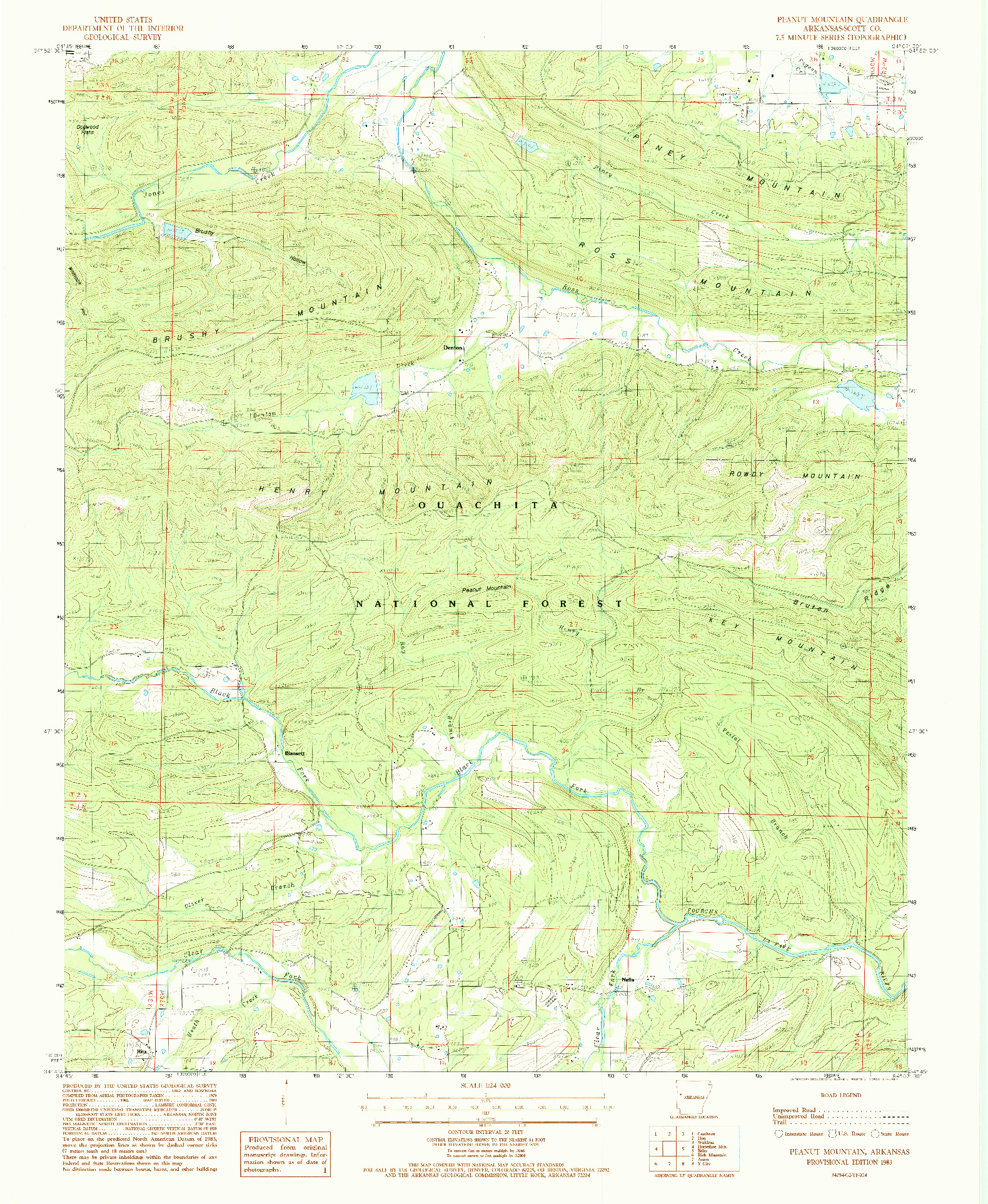 USGS 1:24000-SCALE QUADRANGLE FOR PEANUT MOUNTAIN, AR 1983