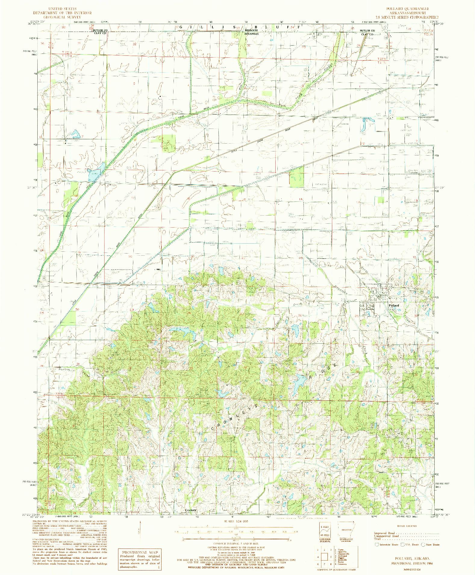 USGS 1:24000-SCALE QUADRANGLE FOR POLLARD, AR 1984