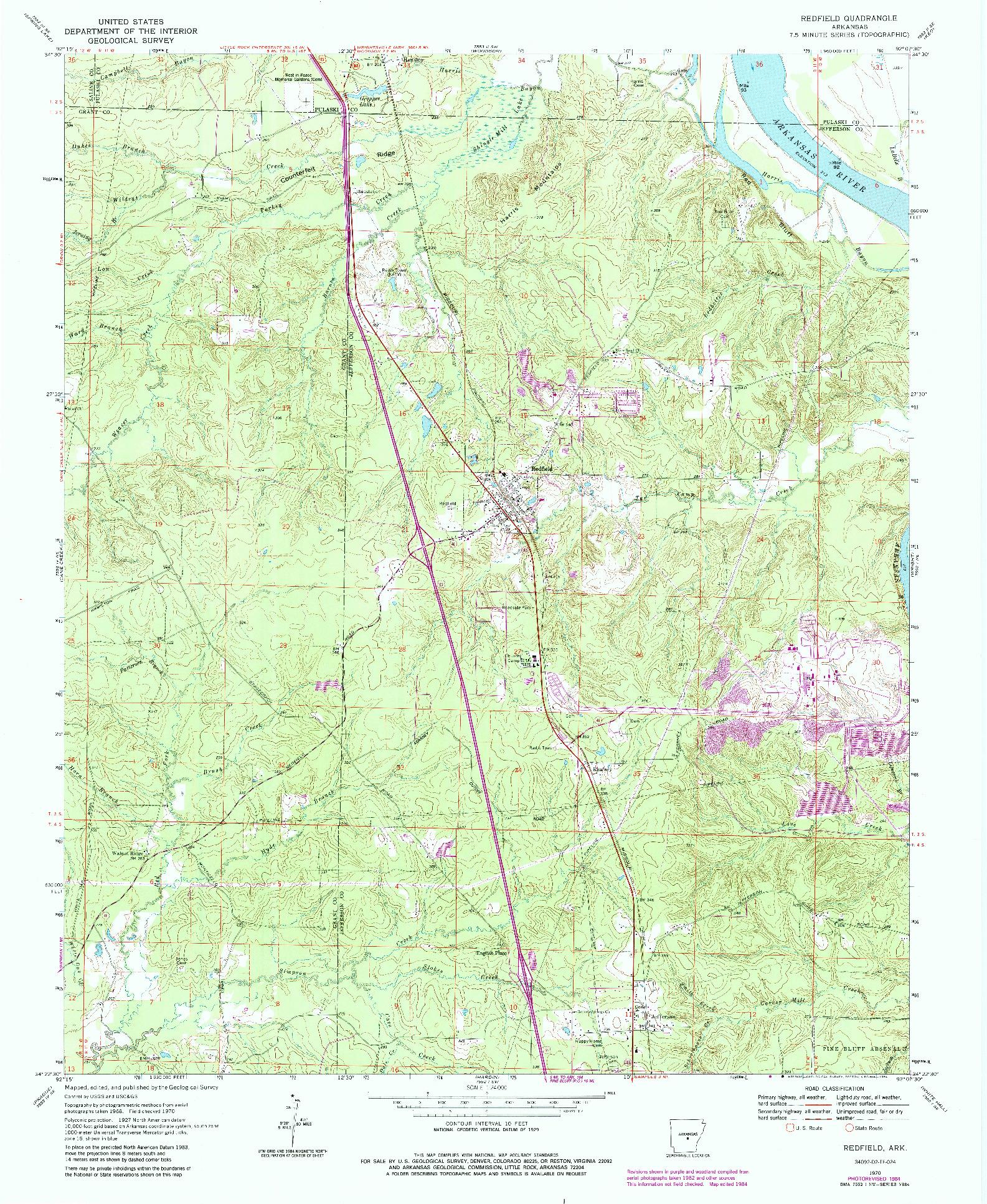 USGS 1:24000-SCALE QUADRANGLE FOR REDFIELD, AR 1970