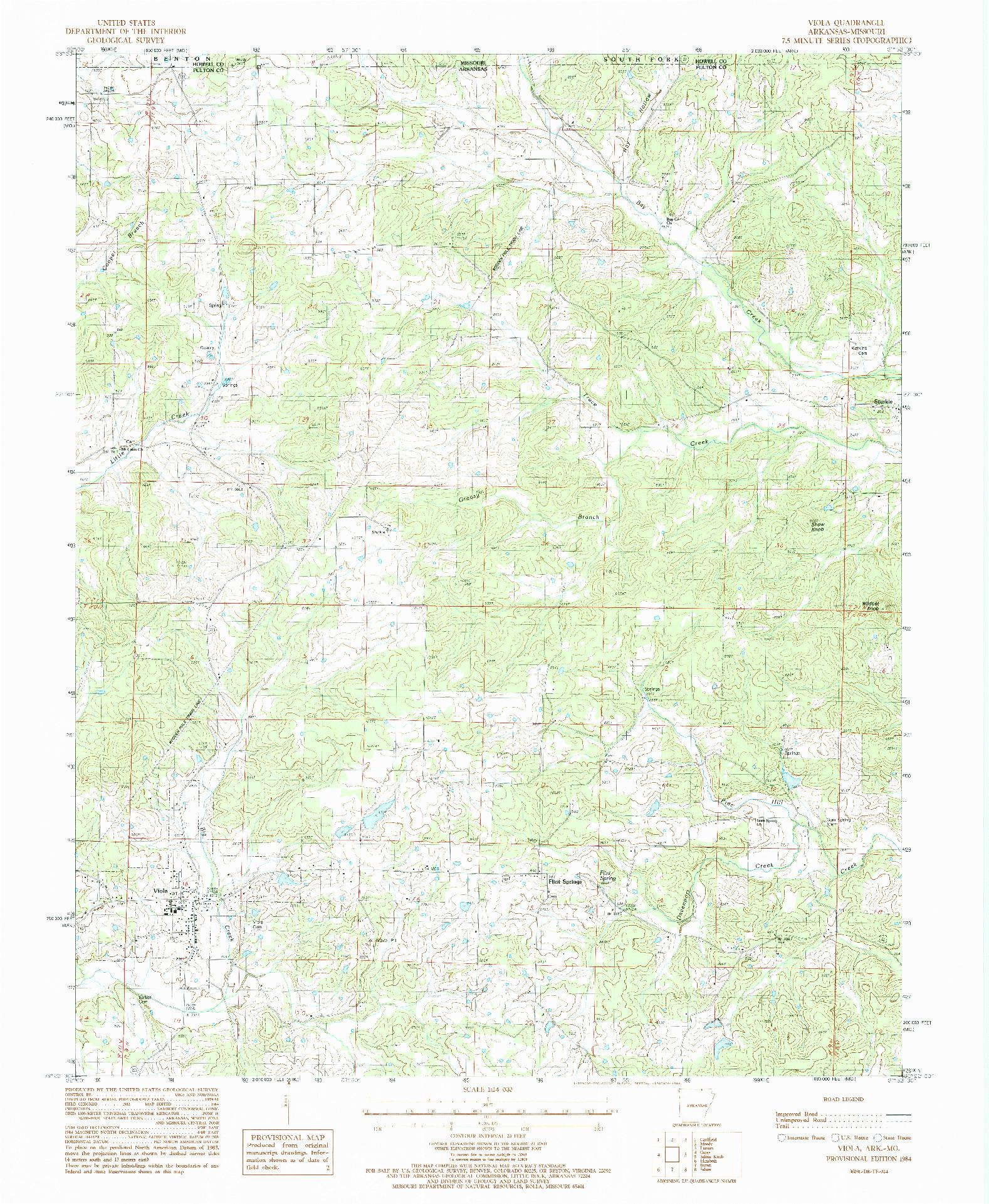 USGS 1:24000-SCALE QUADRANGLE FOR VIOLA, AR 1984