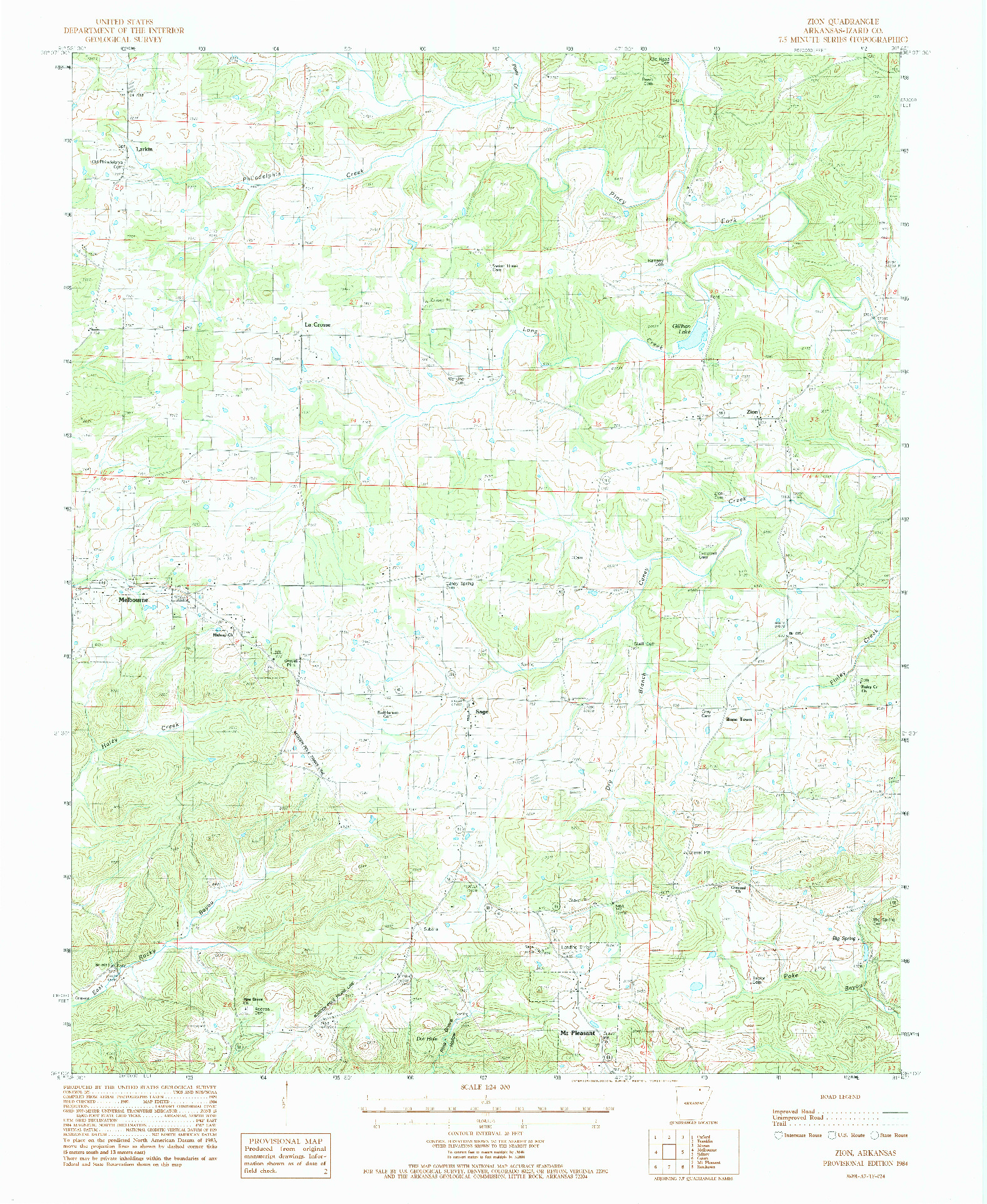USGS 1:24000-SCALE QUADRANGLE FOR ZION, AR 1984