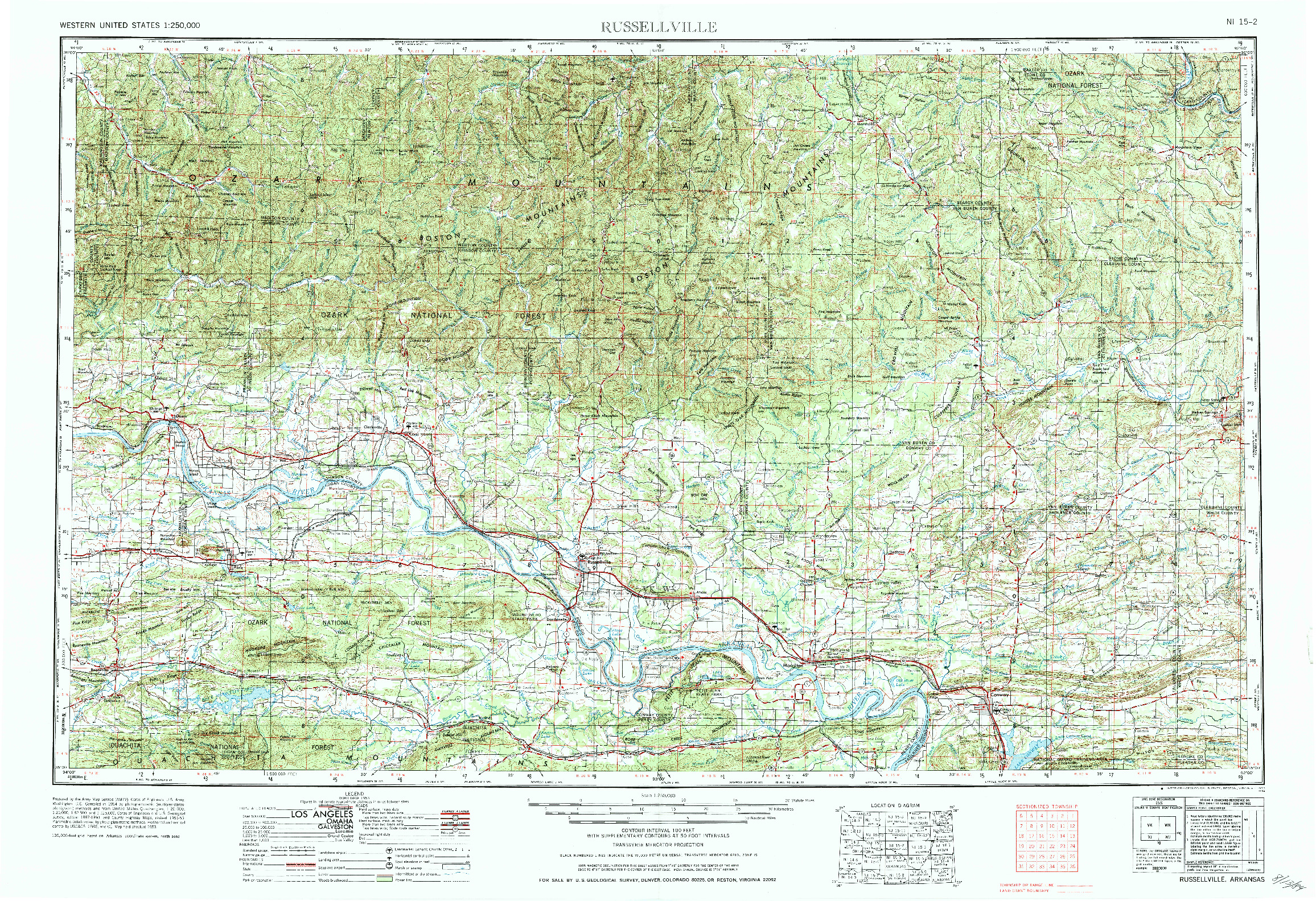 USGS 1:250000-SCALE QUADRANGLE FOR RUSSELLVILLE, AR 1984