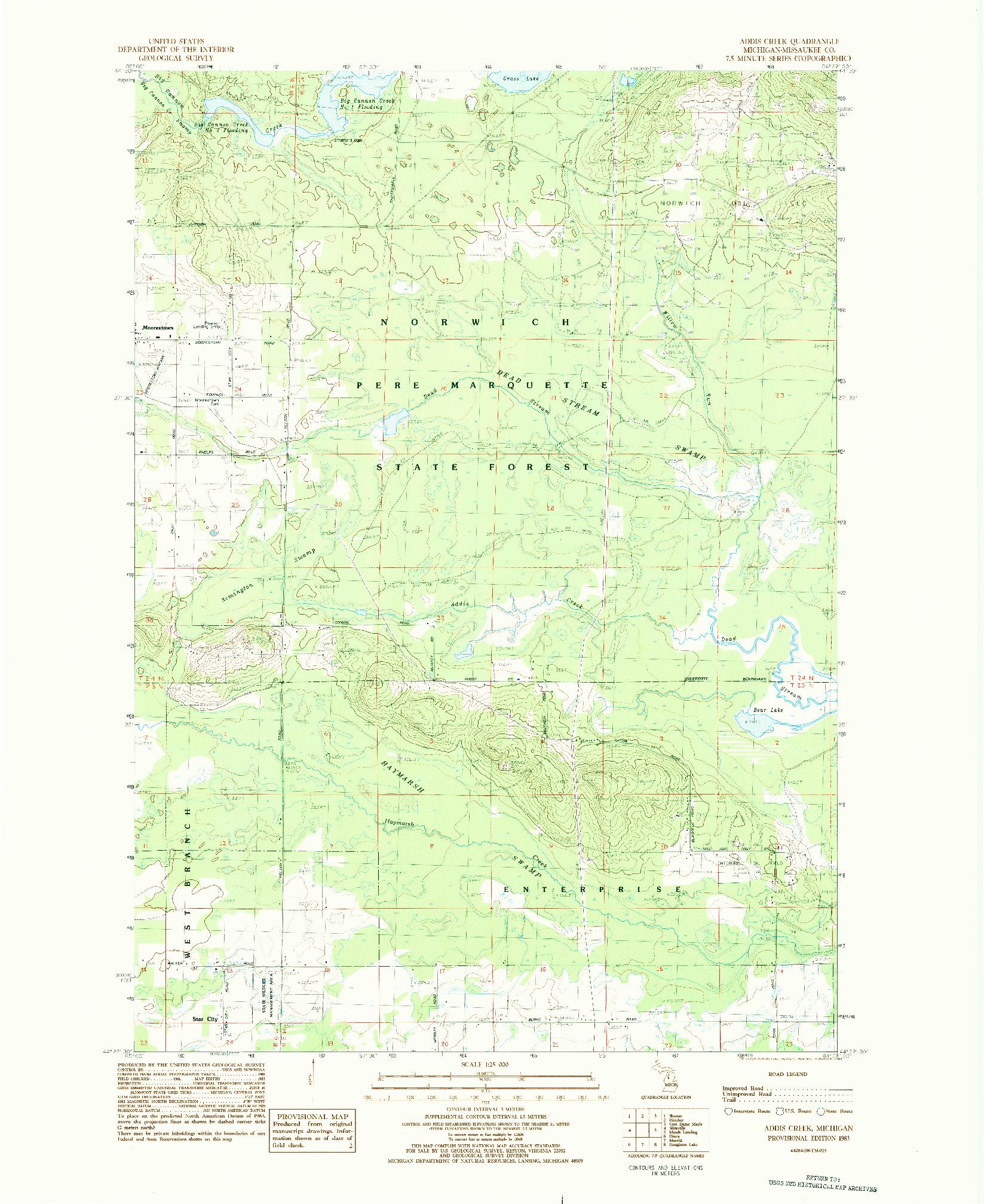 USGS 1:24000-SCALE QUADRANGLE FOR ADDIS CREEK, MI 1983
