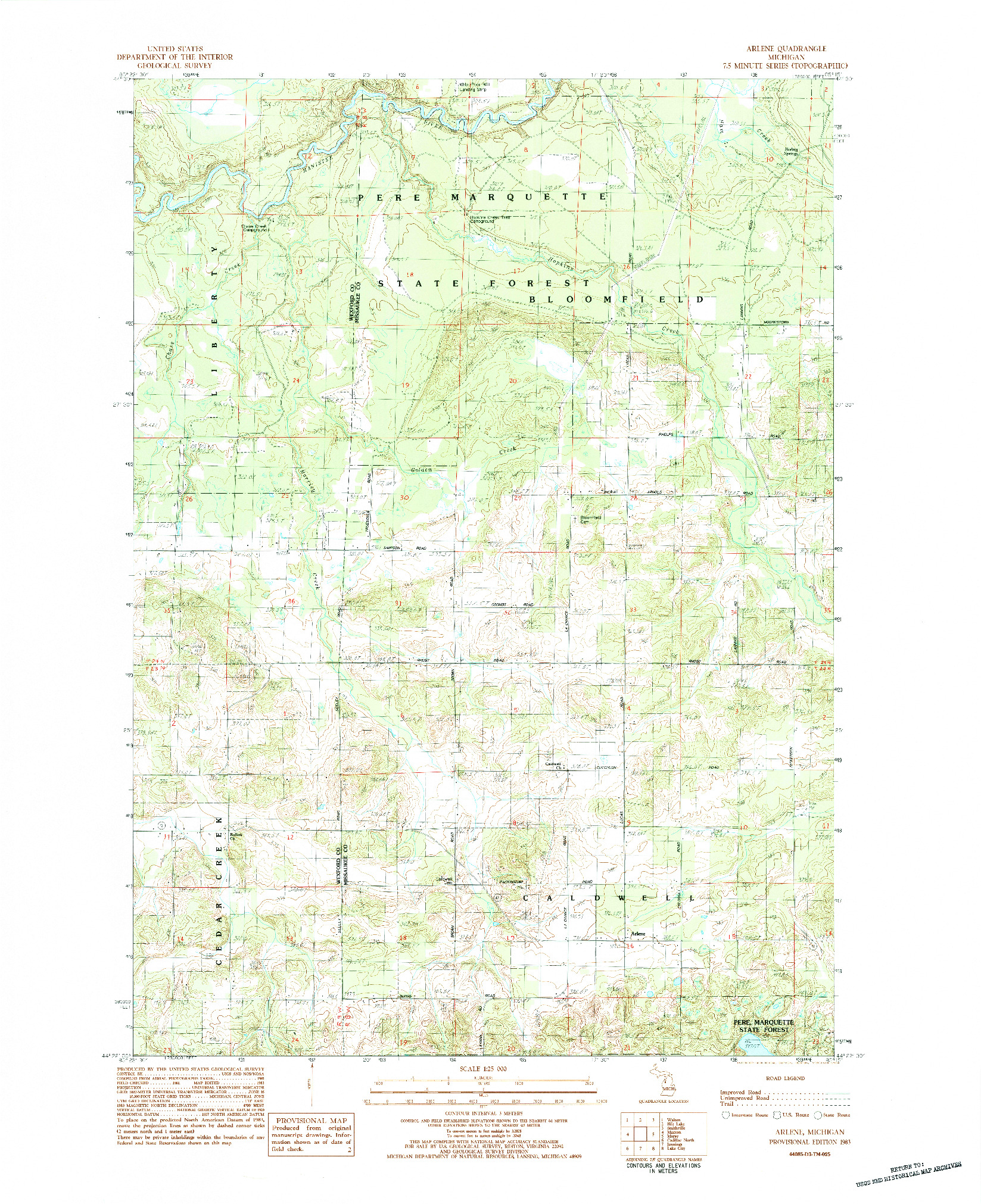 USGS 1:24000-SCALE QUADRANGLE FOR ARLENE, MI 1983