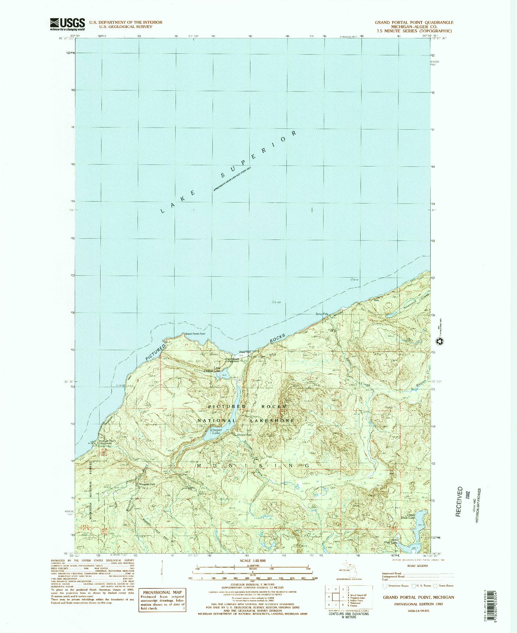 USGS 1:24000-SCALE QUADRANGLE FOR GRAND PORTAL POINT, MI 1983