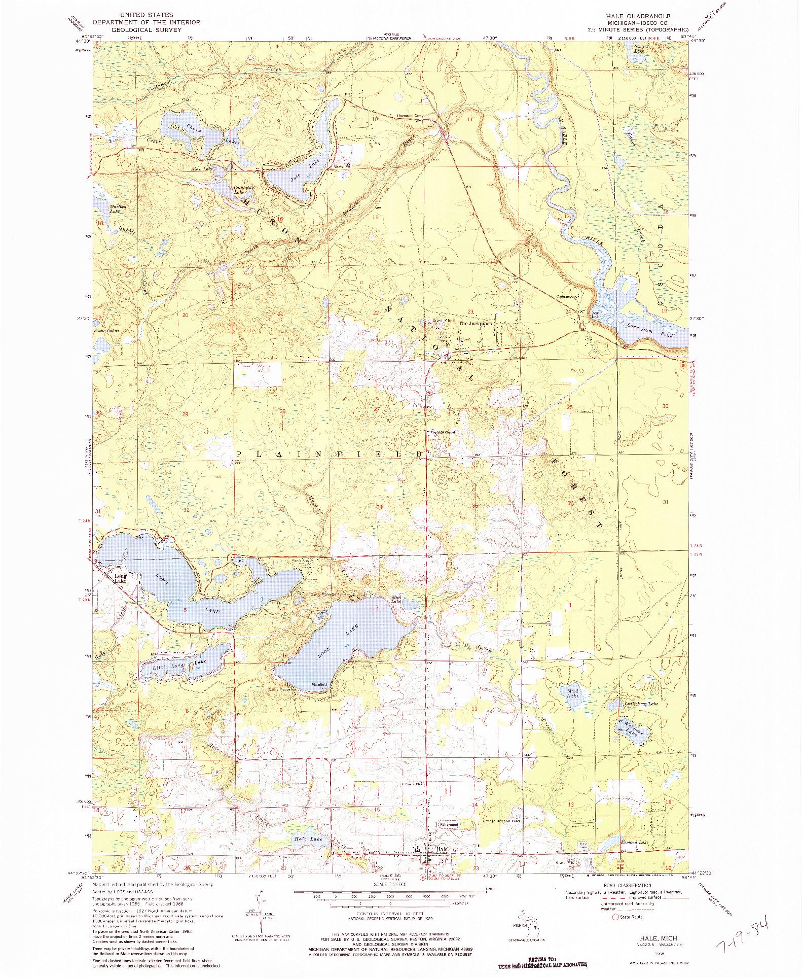 USGS 1:24000-SCALE QUADRANGLE FOR HALE, MI 1968