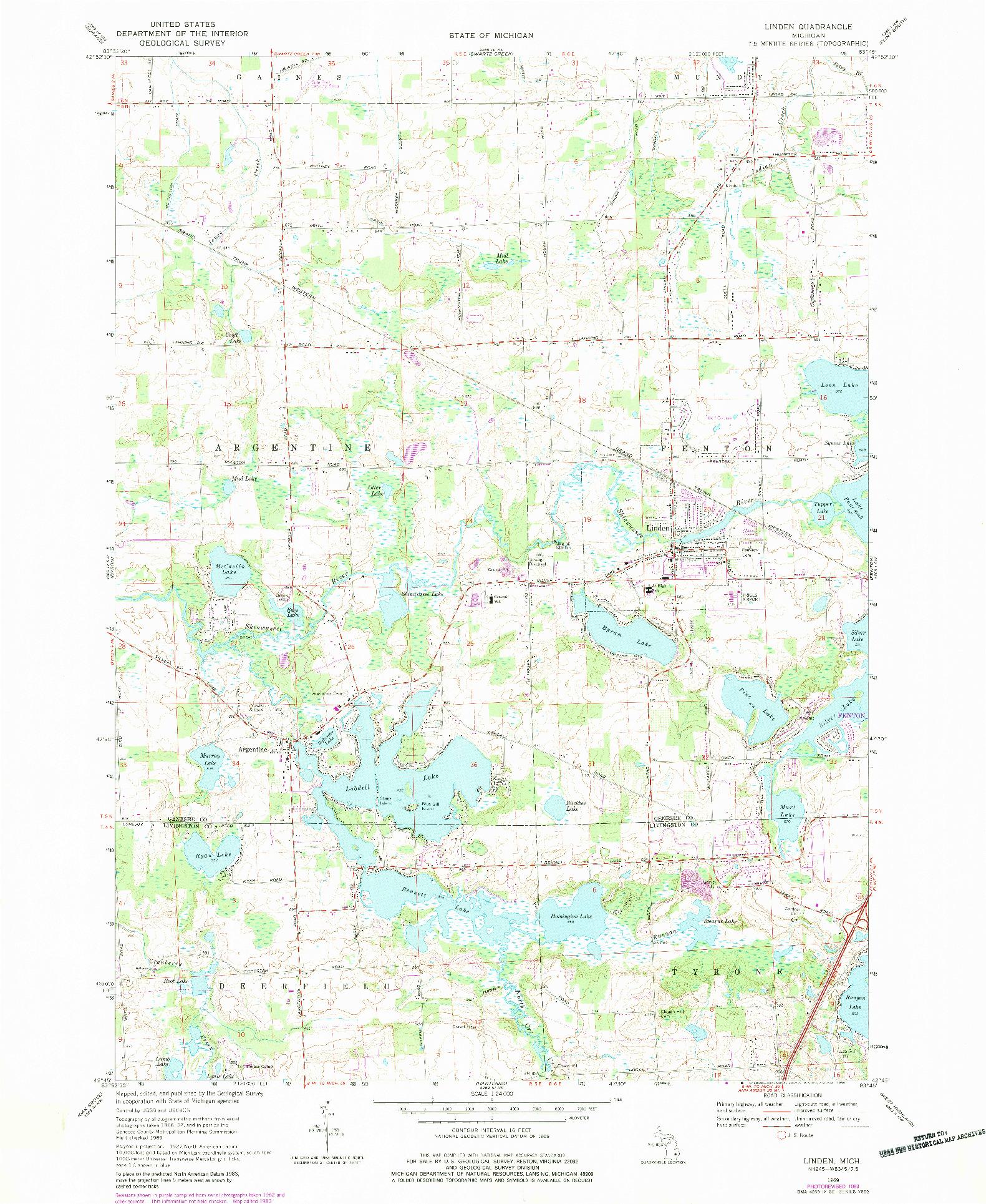 USGS 1:24000-SCALE QUADRANGLE FOR LINDEN, MI 1969