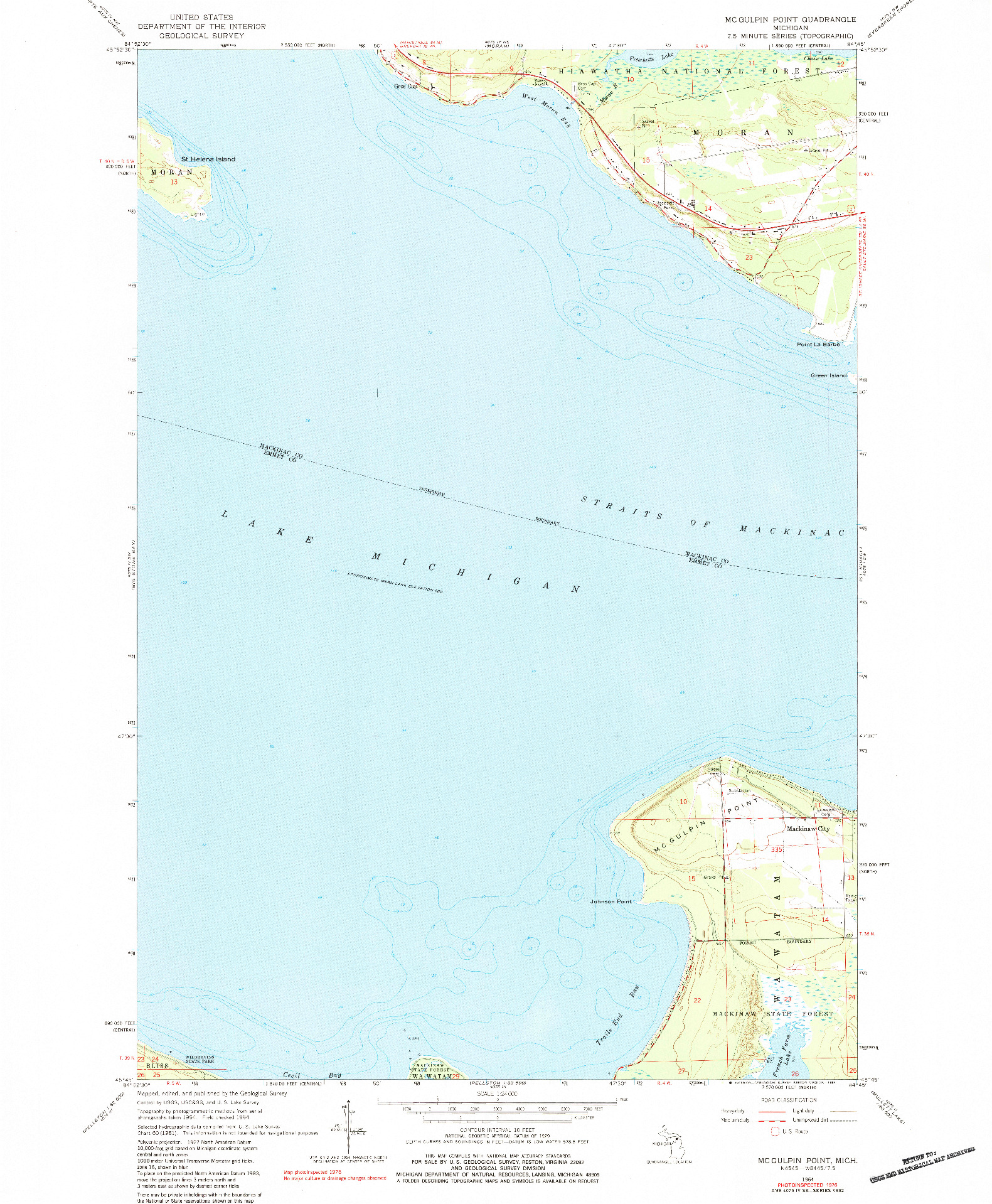 USGS 1:24000-SCALE QUADRANGLE FOR MCGULPIN POINT, MI 1964
