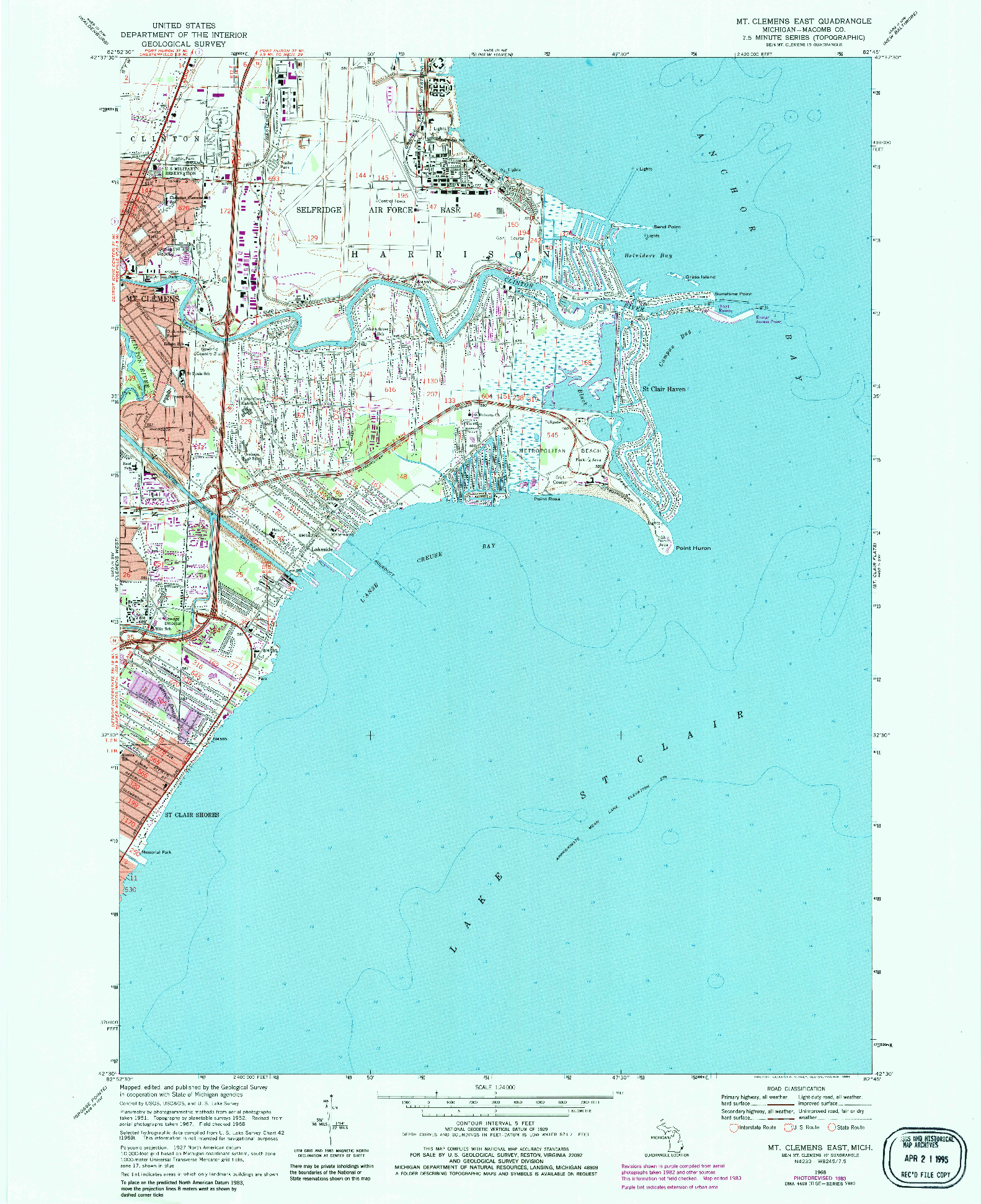 USGS 1:24000-SCALE QUADRANGLE FOR MT CLEMENS EAST, MI 1968