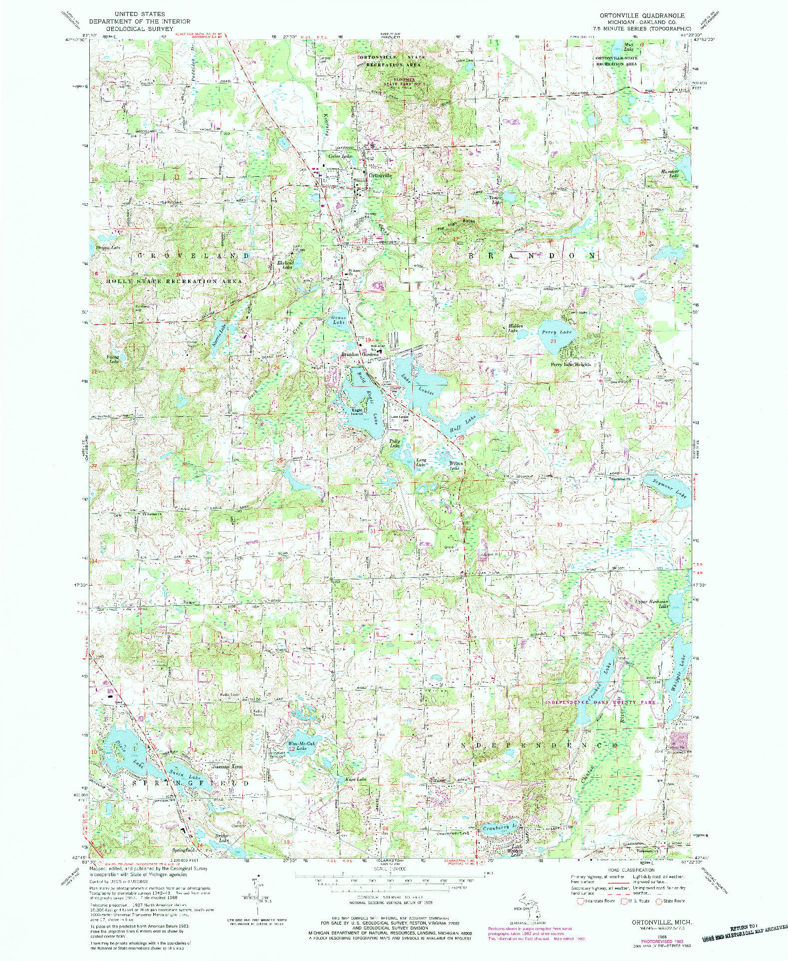 USGS 1:24000-SCALE QUADRANGLE FOR ORTONVILLE, MI 1968