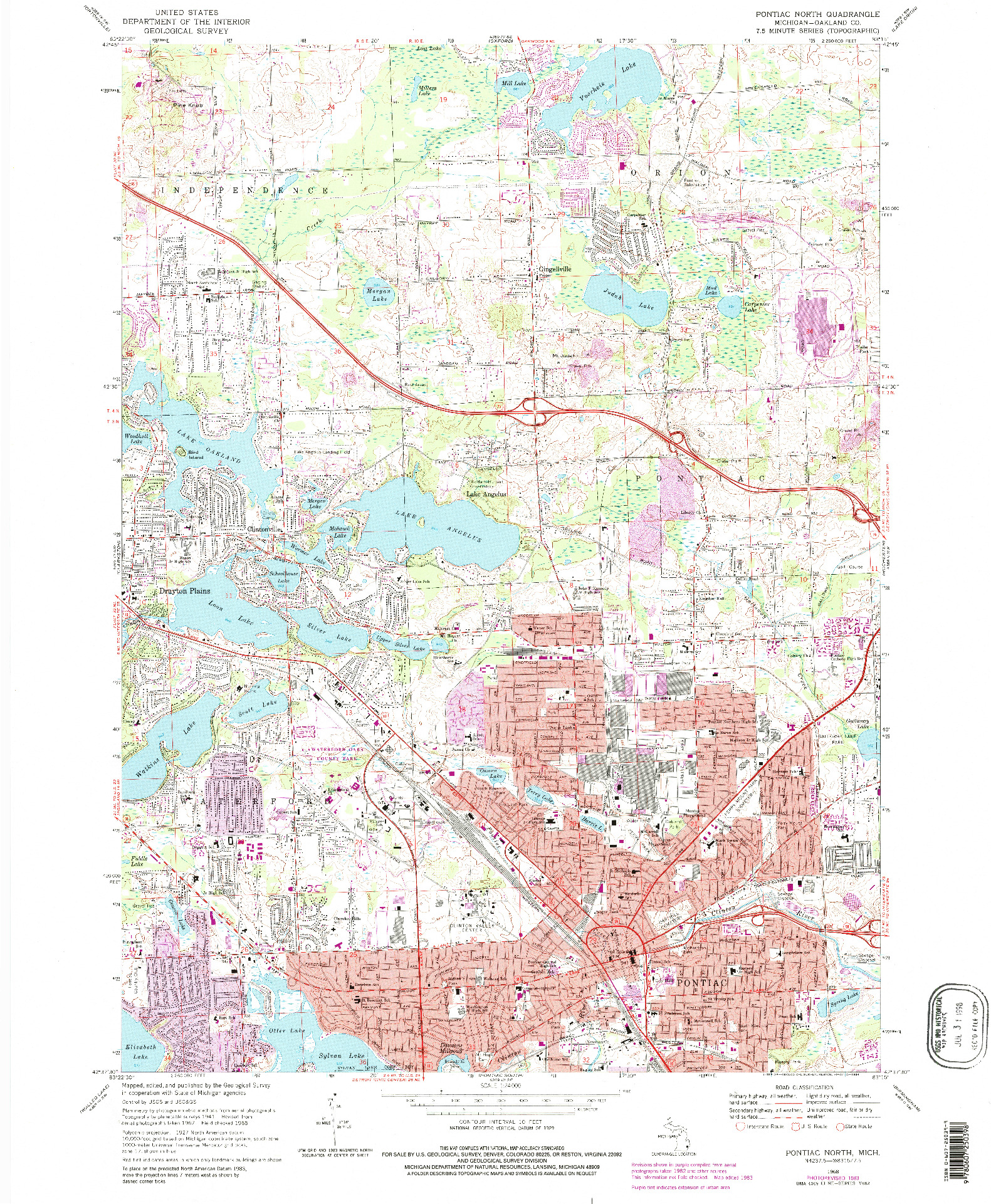 USGS 1:24000-SCALE QUADRANGLE FOR PONTIAC NORTH, MI 1968