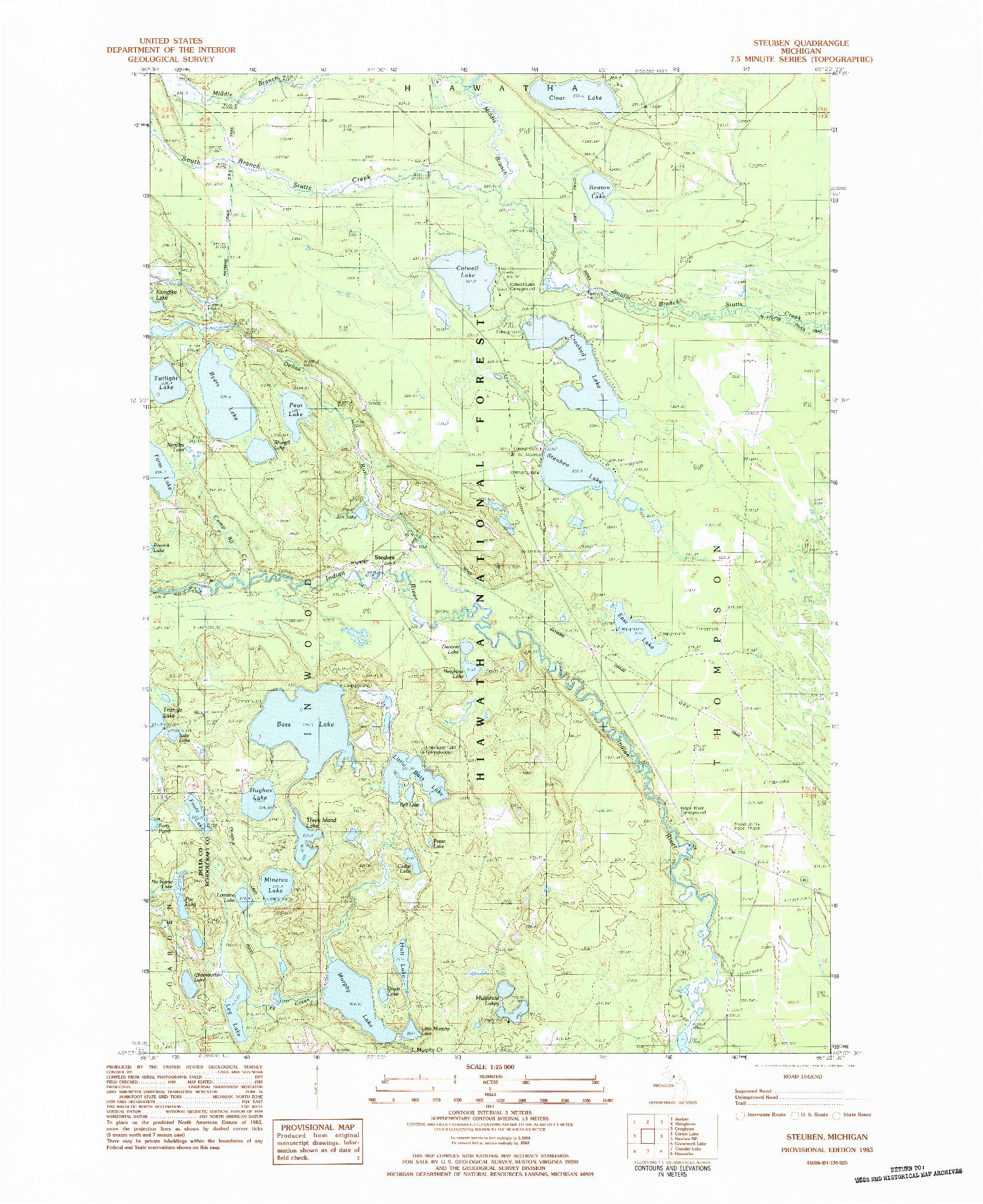 USGS 1:24000-SCALE QUADRANGLE FOR STEUBEN, MI 1983