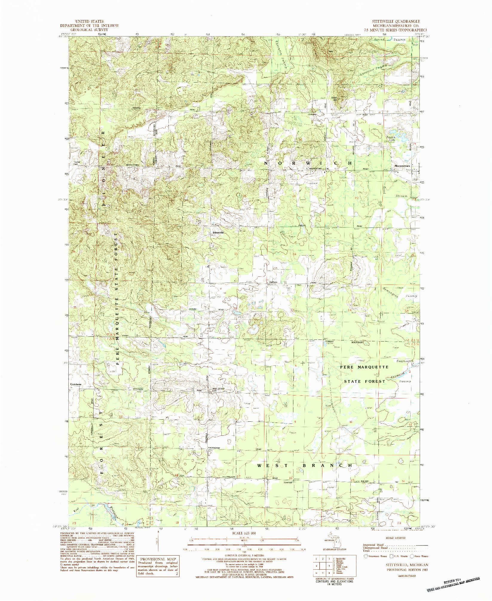 USGS 1:24000-SCALE QUADRANGLE FOR STITTSVILLE, MI 1983