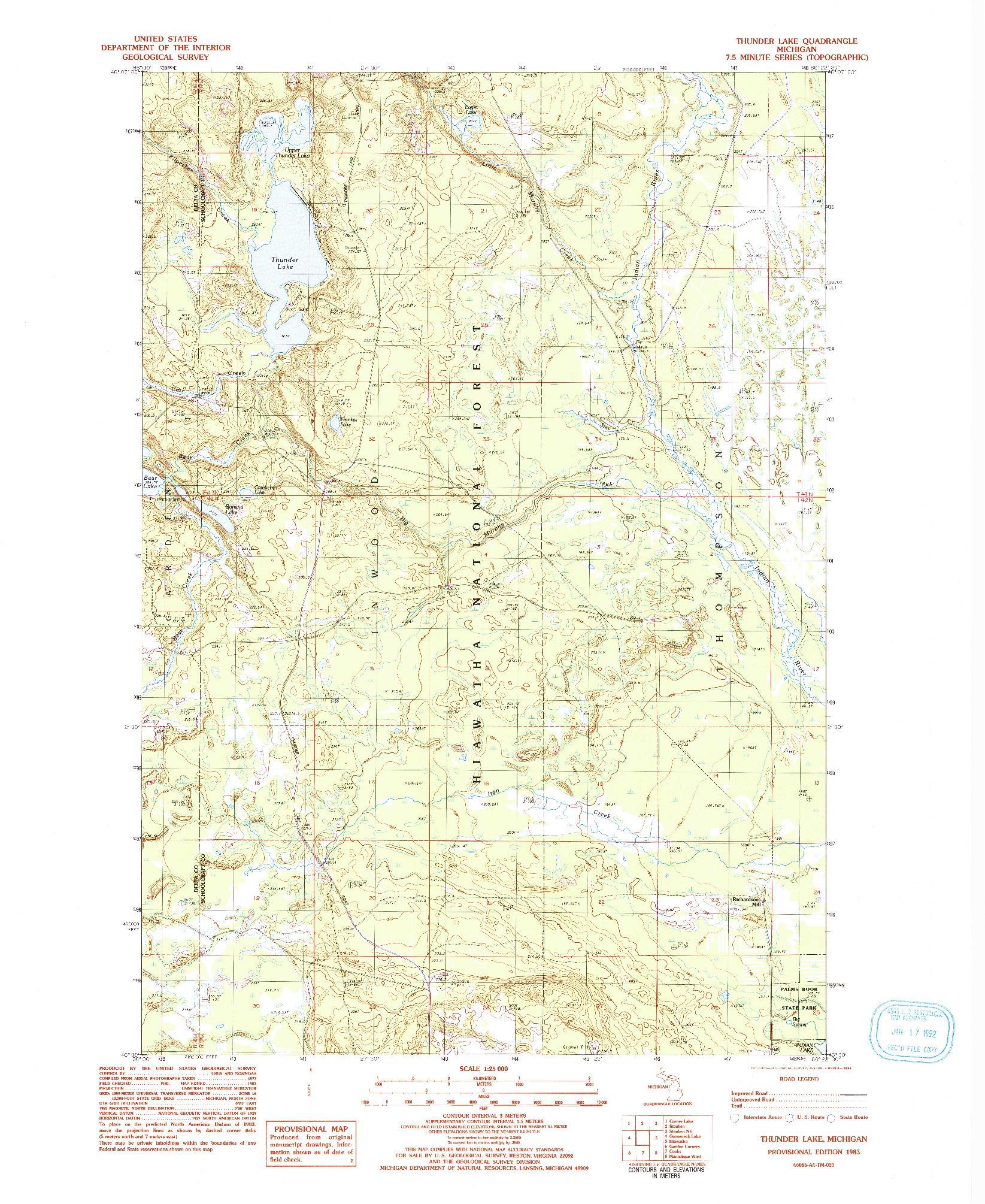USGS 1:24000-SCALE QUADRANGLE FOR THUNDER LAKE, MI 1983