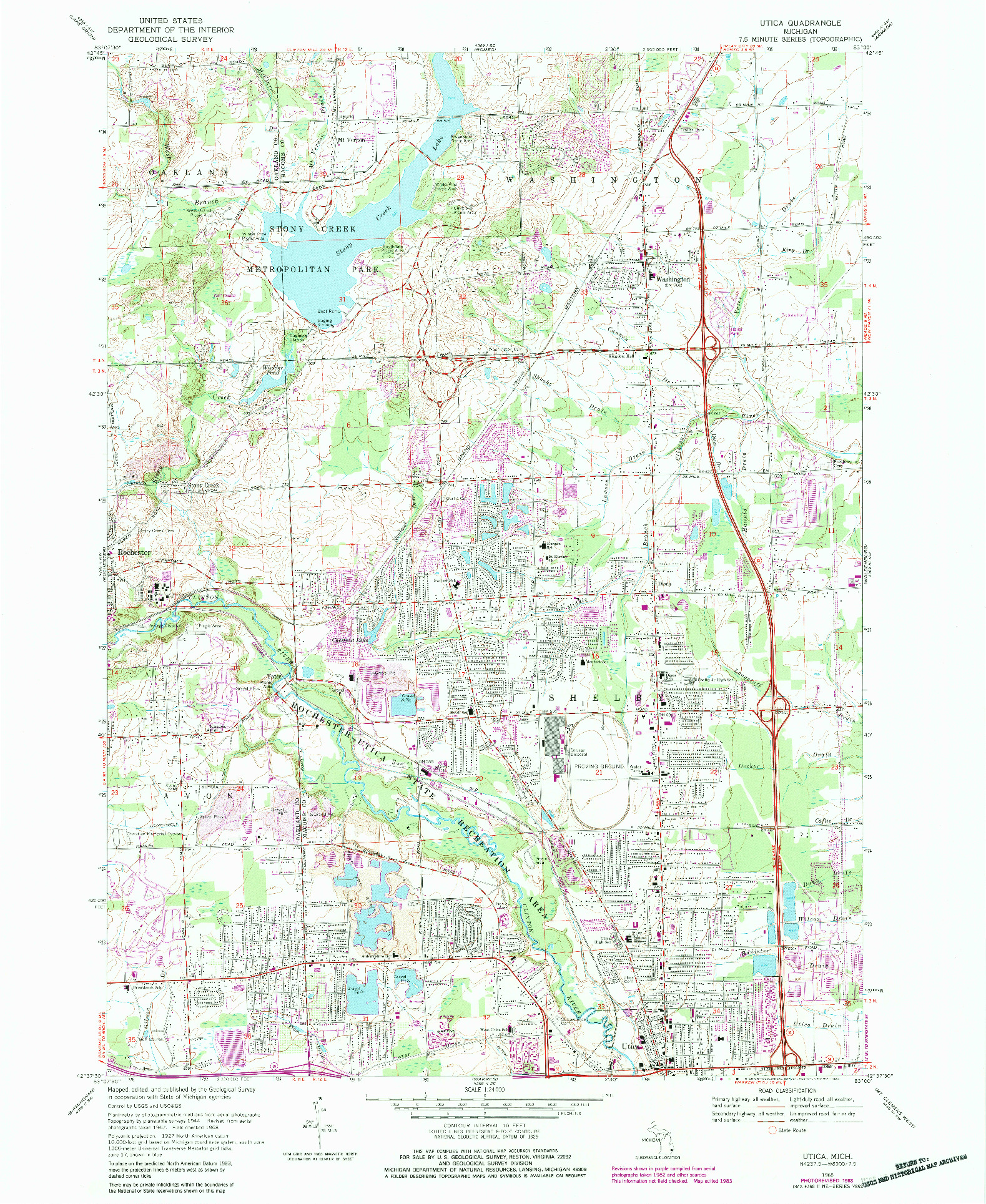 USGS 1:24000-SCALE QUADRANGLE FOR UTICA, MI 1968
