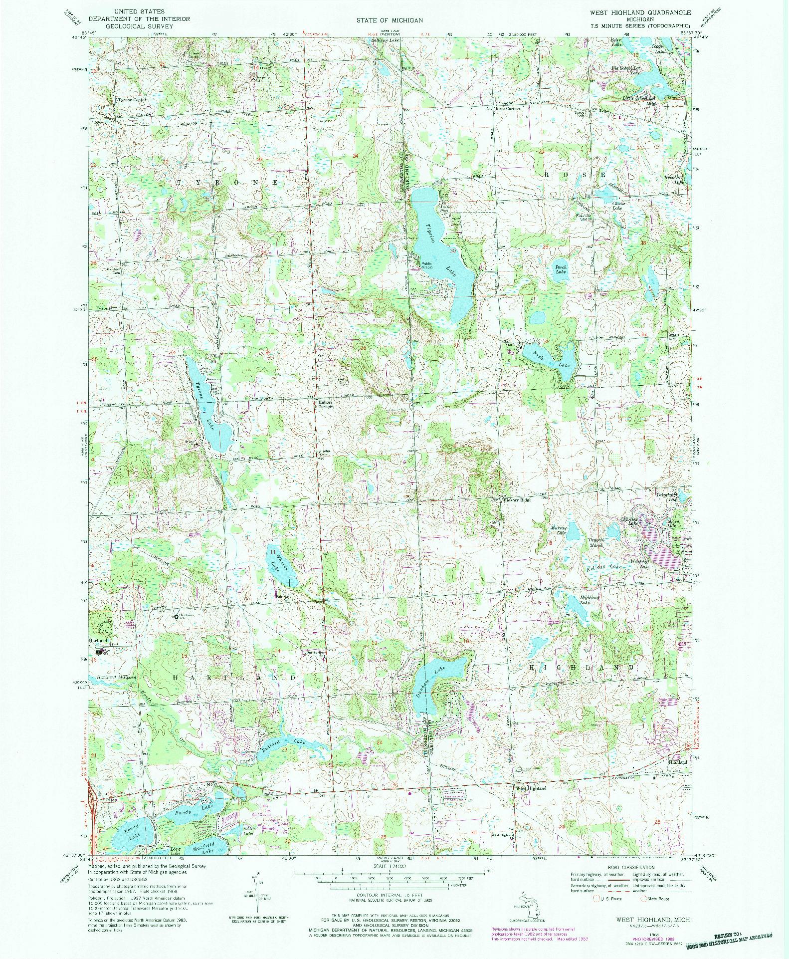 USGS 1:24000-SCALE QUADRANGLE FOR WEST HIGHLAND, MI 1968