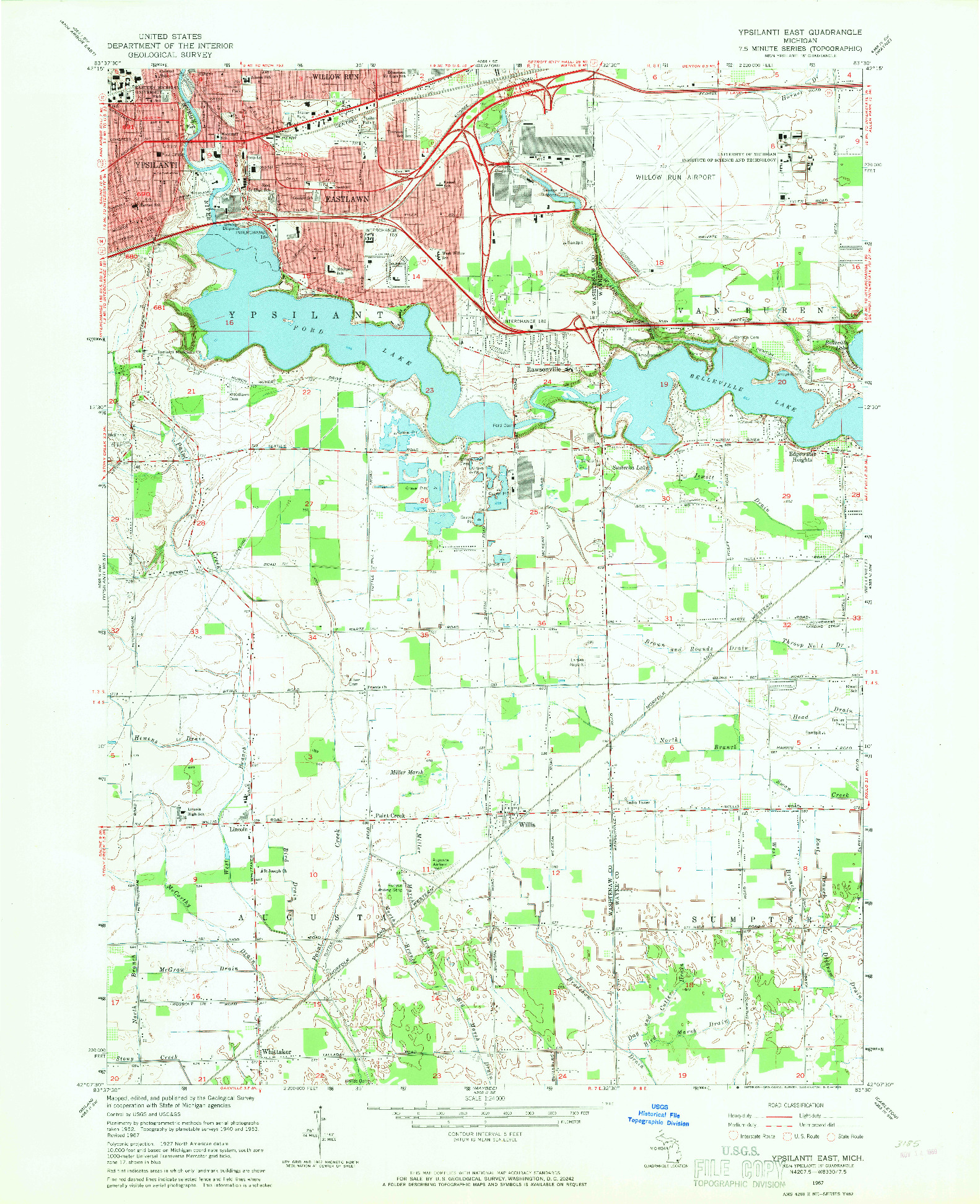 USGS 1:24000-SCALE QUADRANGLE FOR YPSILANTI EAST, MI 1967