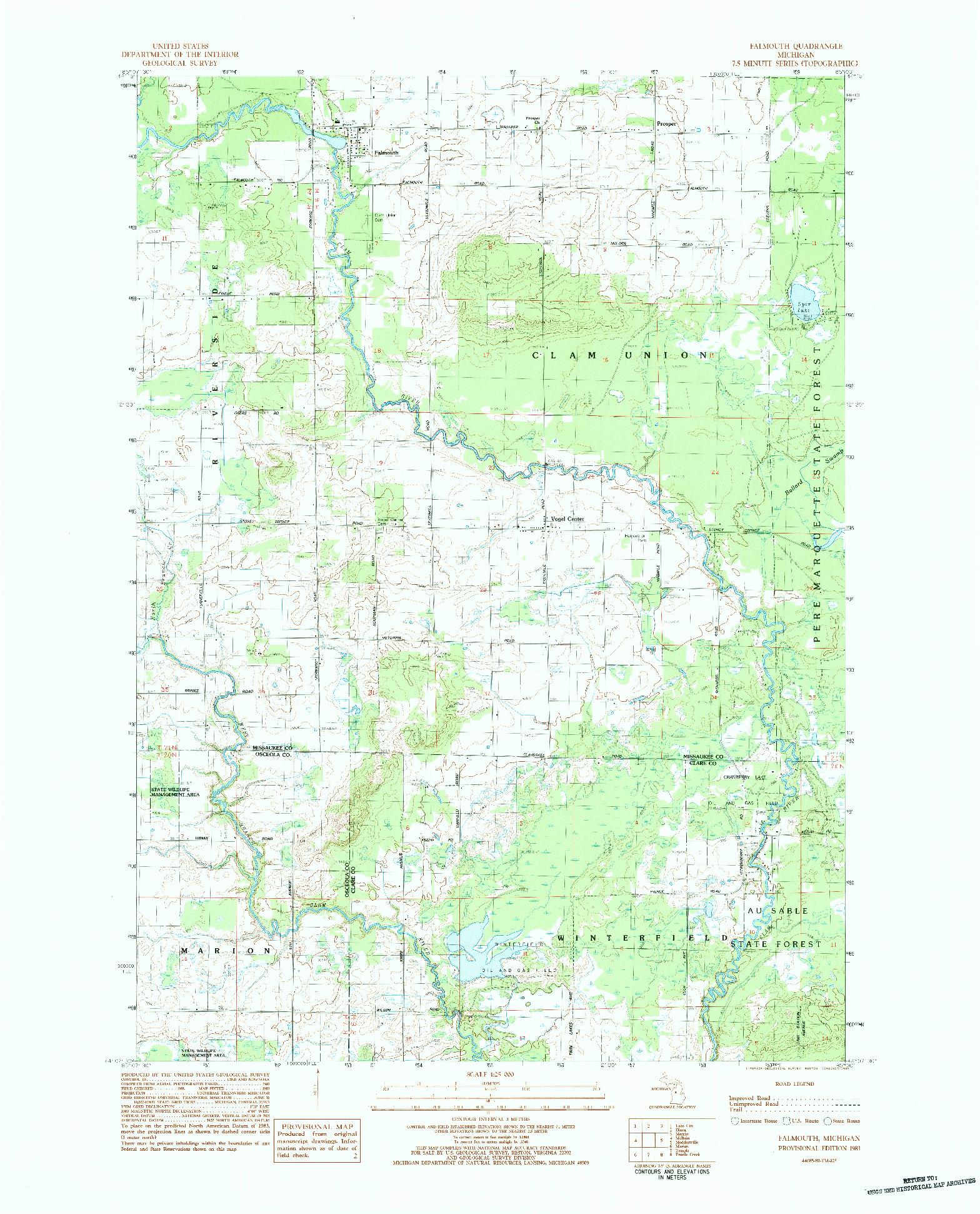 USGS 1:25000-SCALE QUADRANGLE FOR FALMOUTH, MI 1983