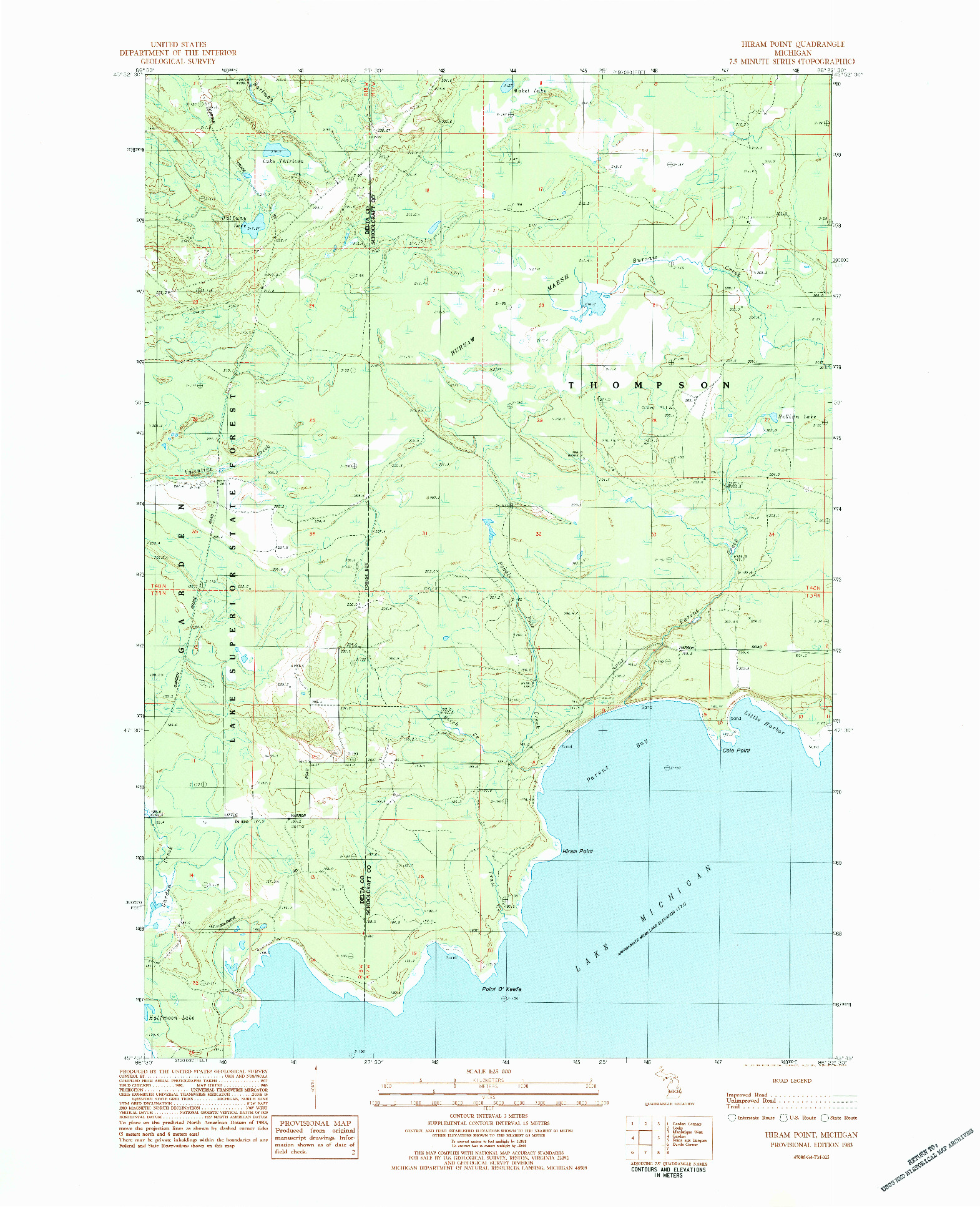 USGS 1:25000-SCALE QUADRANGLE FOR HIRAM POINT, MI 1983
