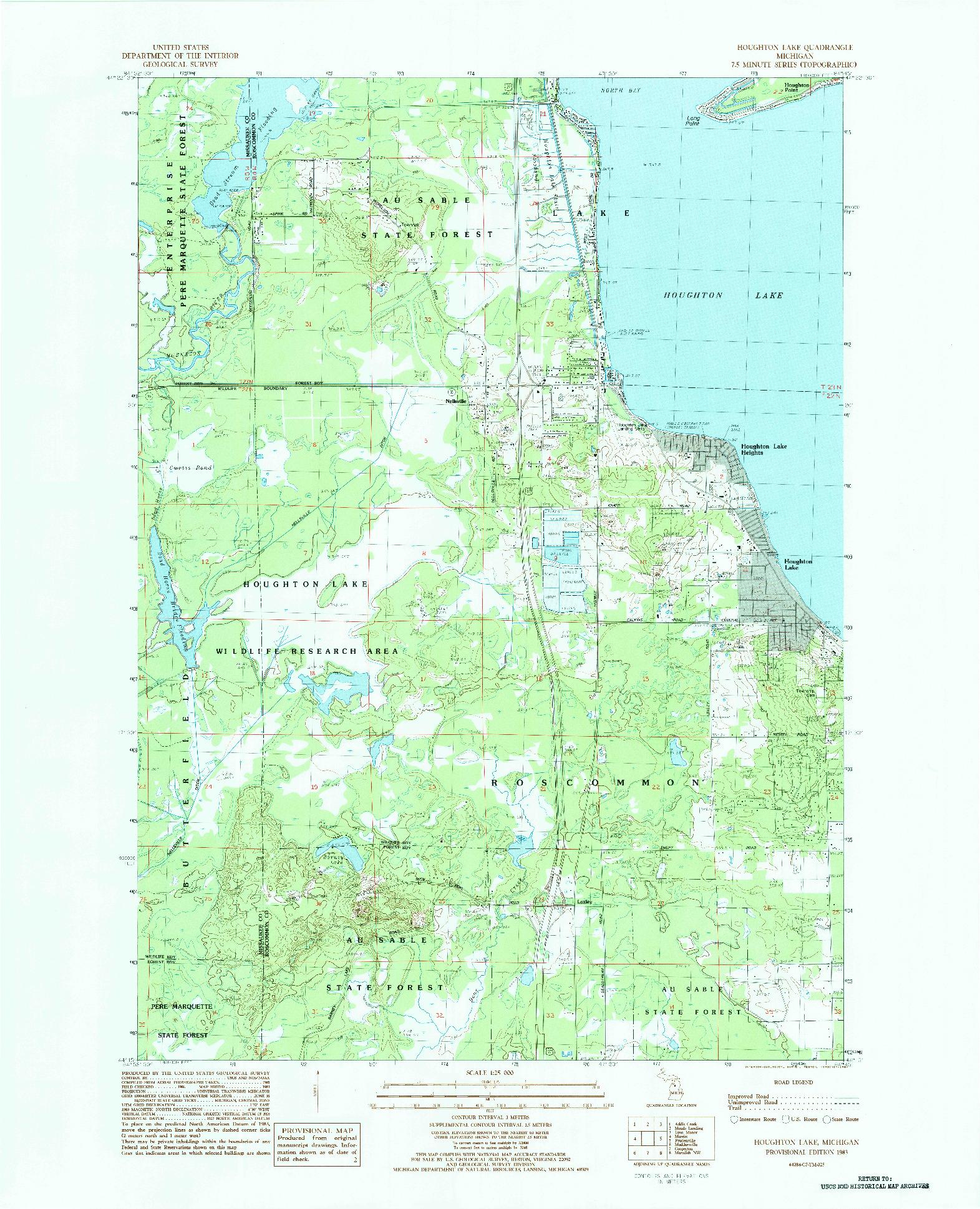 USGS 1:25000-SCALE QUADRANGLE FOR HOUGHTON LAKE, MI 1983