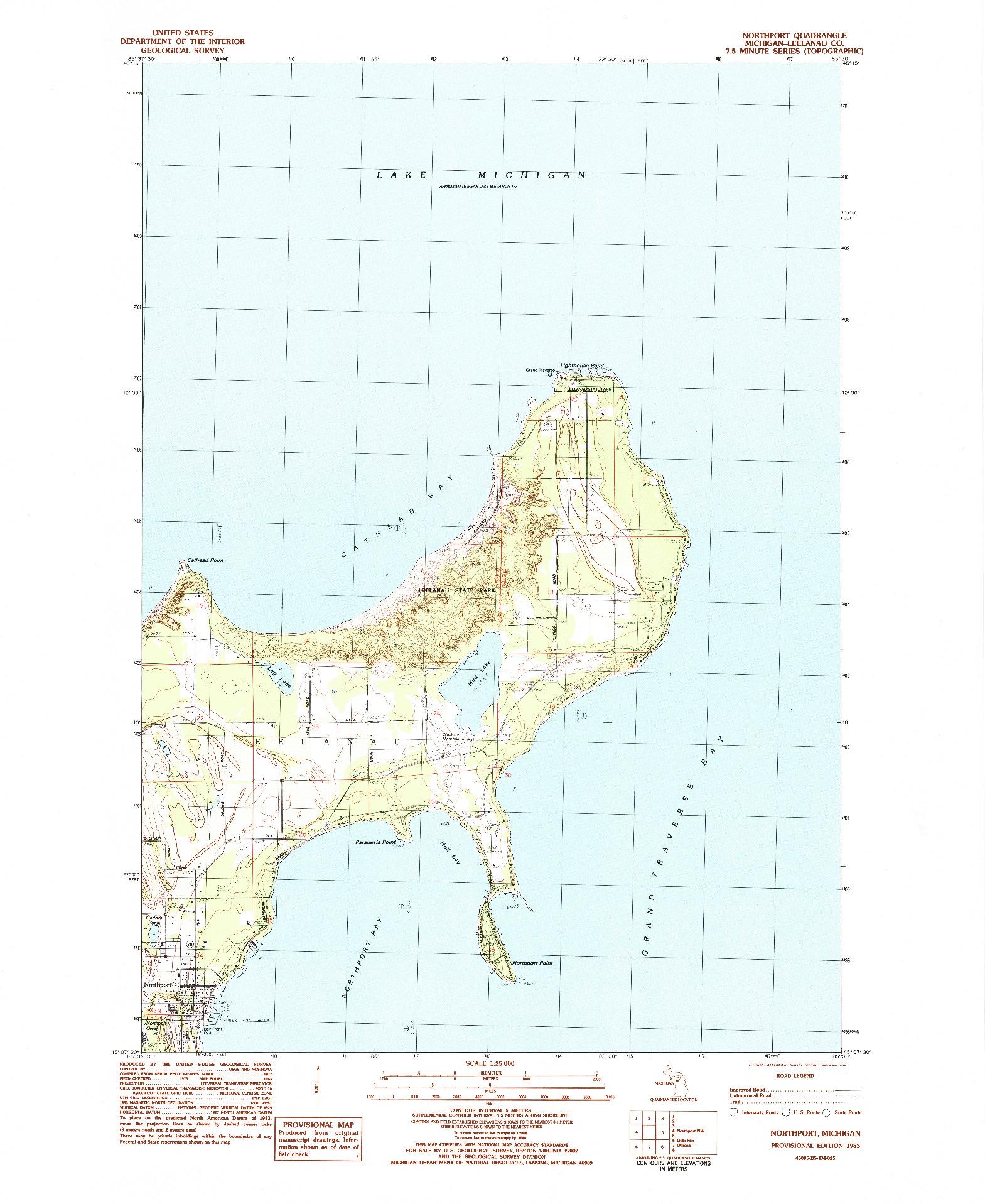 USGS 1:25000-SCALE QUADRANGLE FOR NORTHPORT, MI 1983