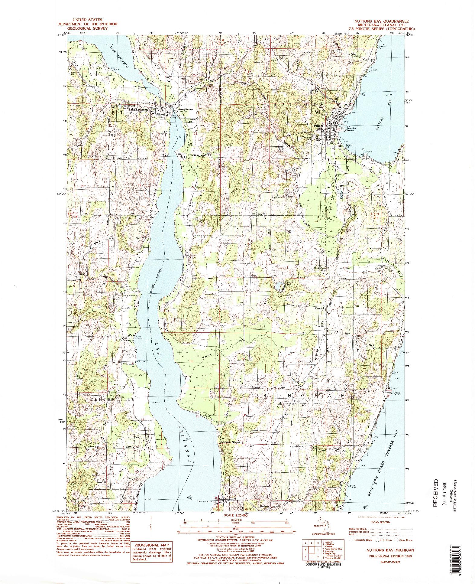USGS 1:25000-SCALE QUADRANGLE FOR SUTTONS BAY, MI 1983
