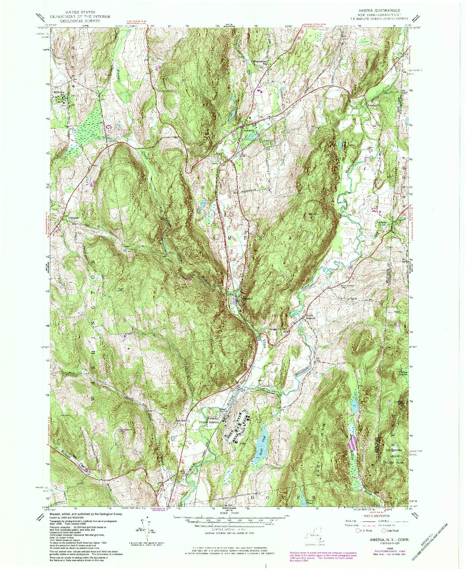 USGS 1:24000-SCALE QUADRANGLE FOR AMENIA, NY 1958