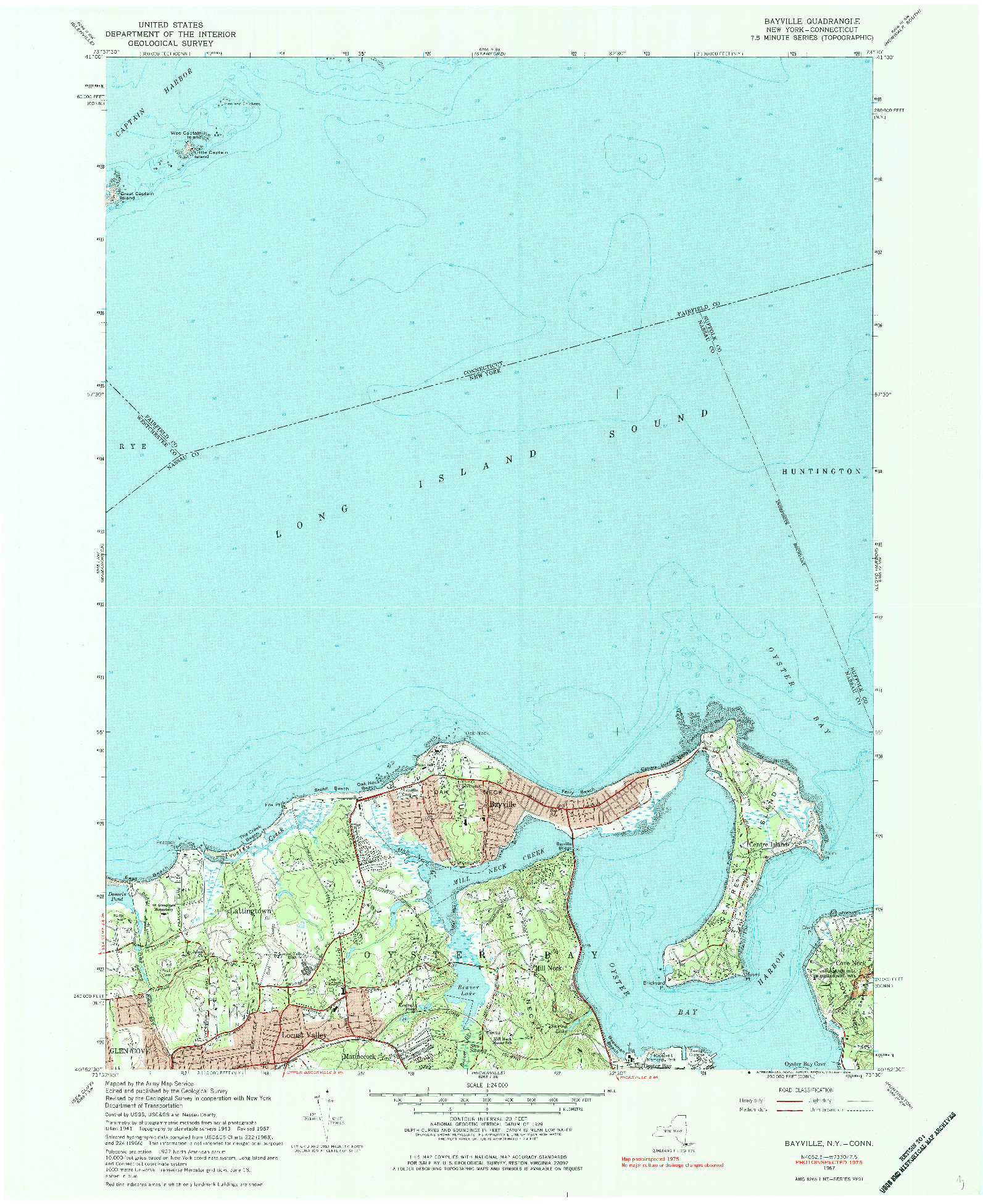 USGS 1:24000-SCALE QUADRANGLE FOR BAYVILLE, NY 1967