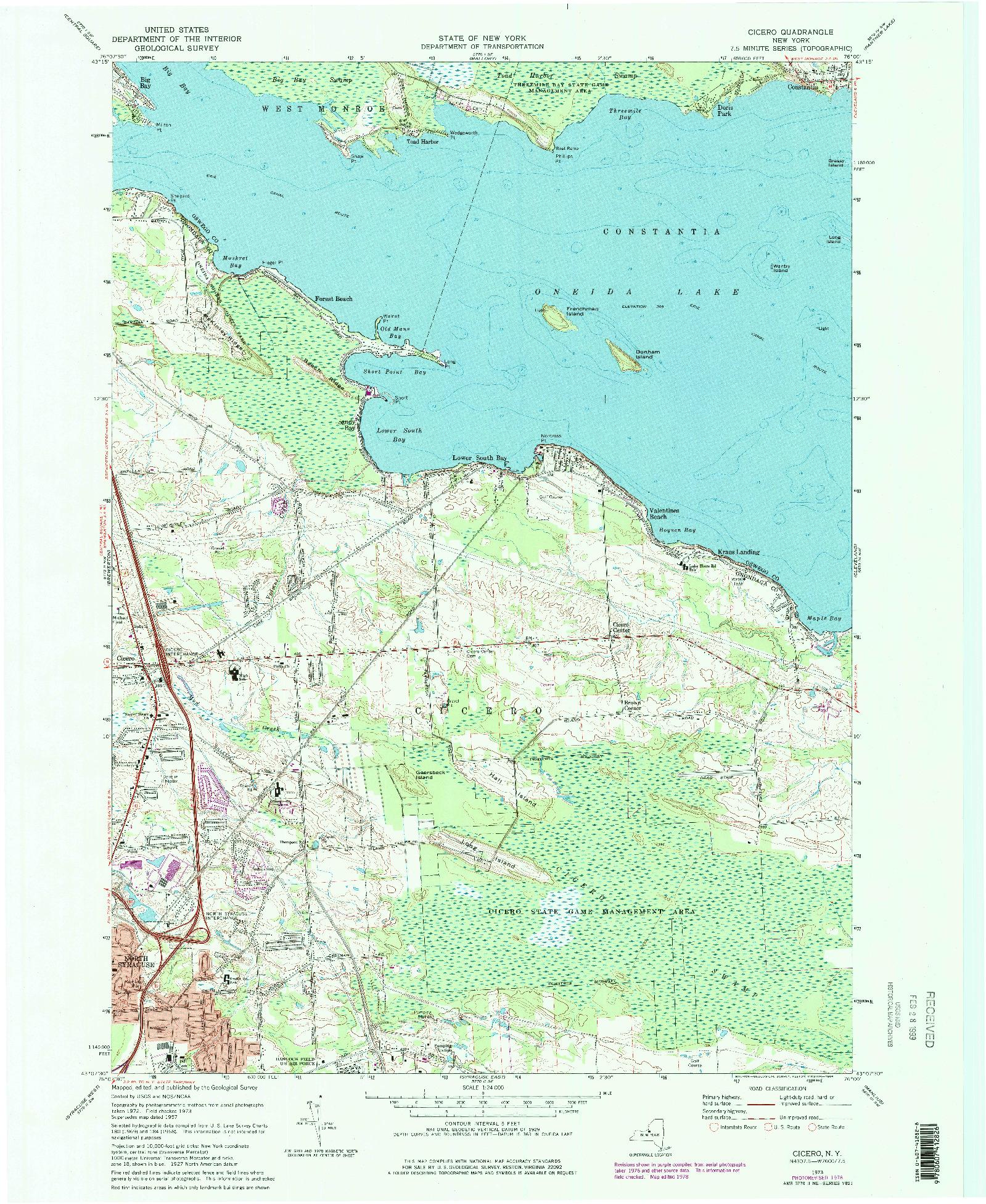 USGS 1:24000-SCALE QUADRANGLE FOR CICERO, NY 1973