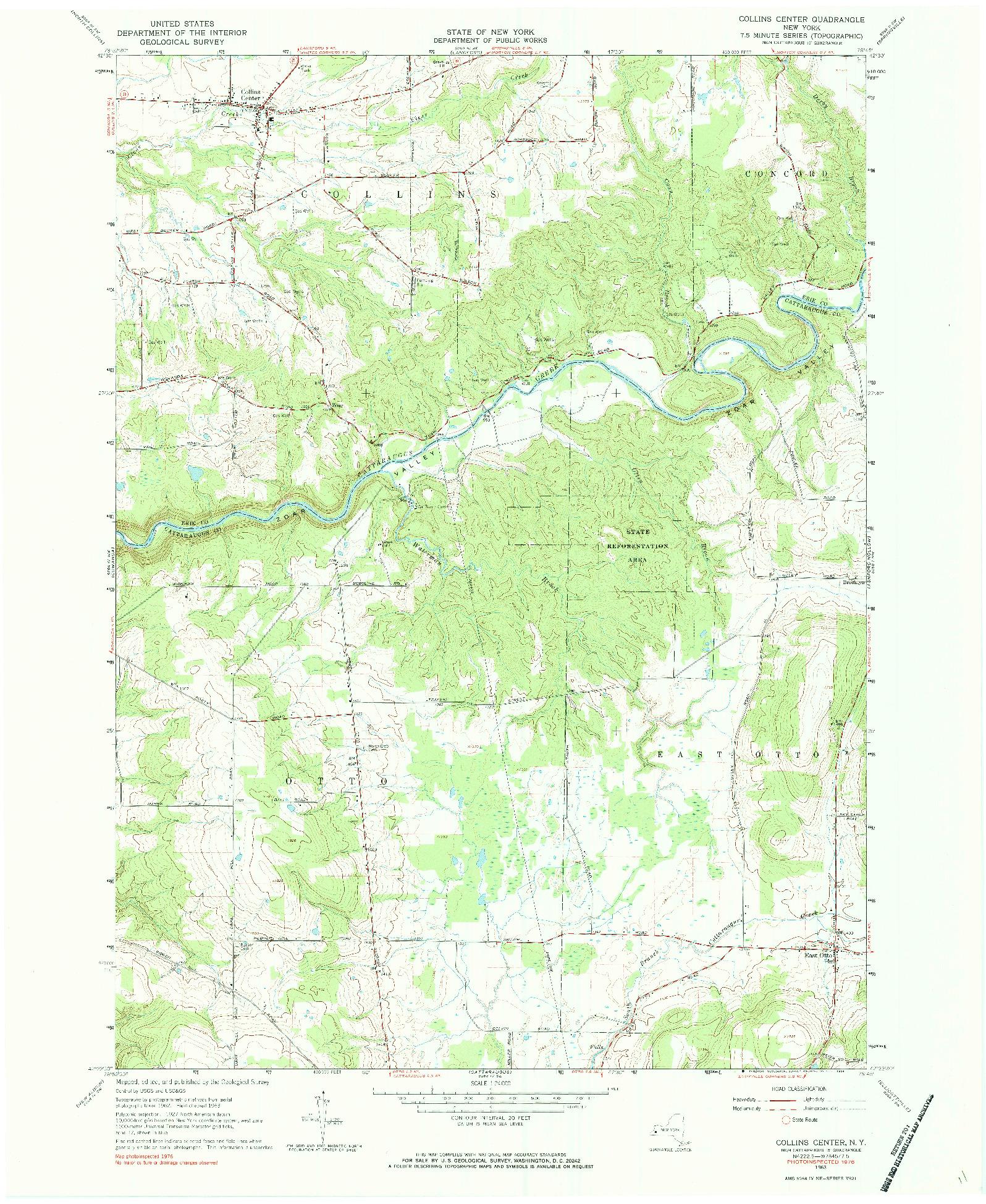 USGS 1:24000-SCALE QUADRANGLE FOR COLLINS CENTER, NY 1963
