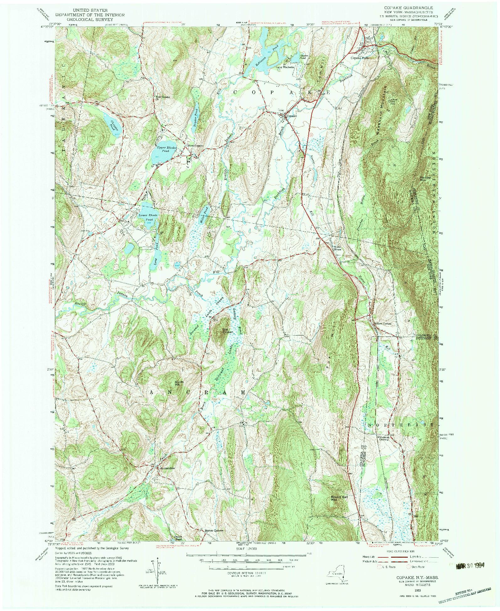 USGS 1:24000-SCALE QUADRANGLE FOR COPAKE, NY 1953