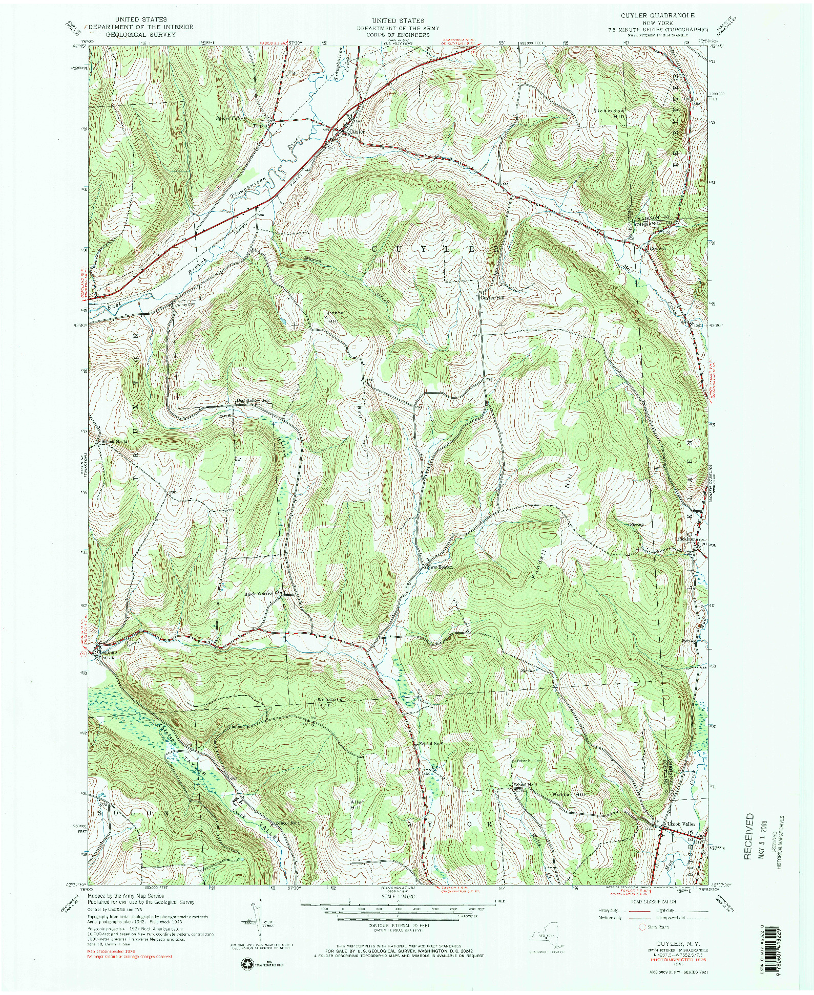 USGS 1:24000-SCALE QUADRANGLE FOR CUYLER, NY 1943